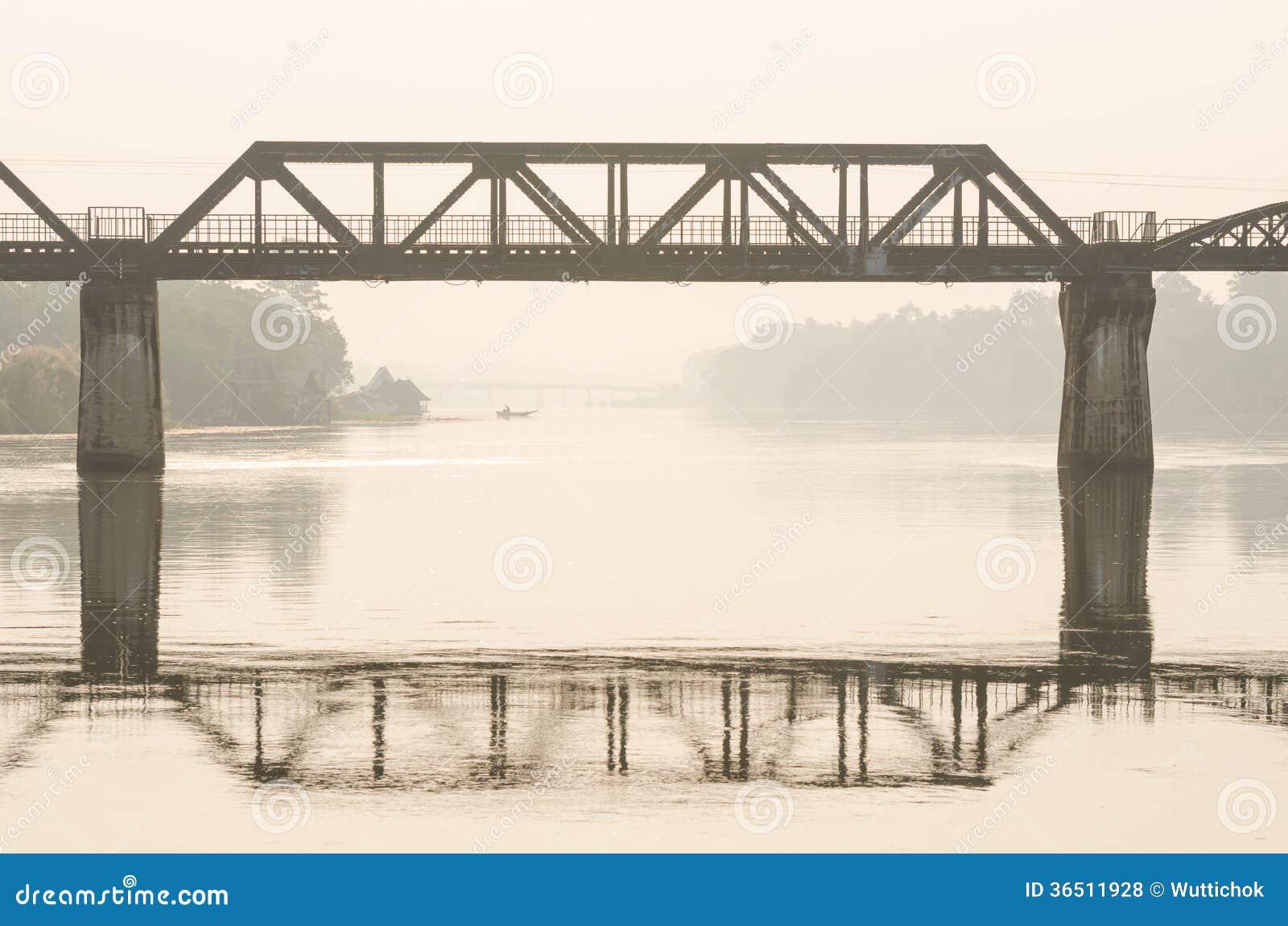 Φυσική άποψη της γέφυρας σιδηροδρόμων πέρα από τον ποταμό Kwai
