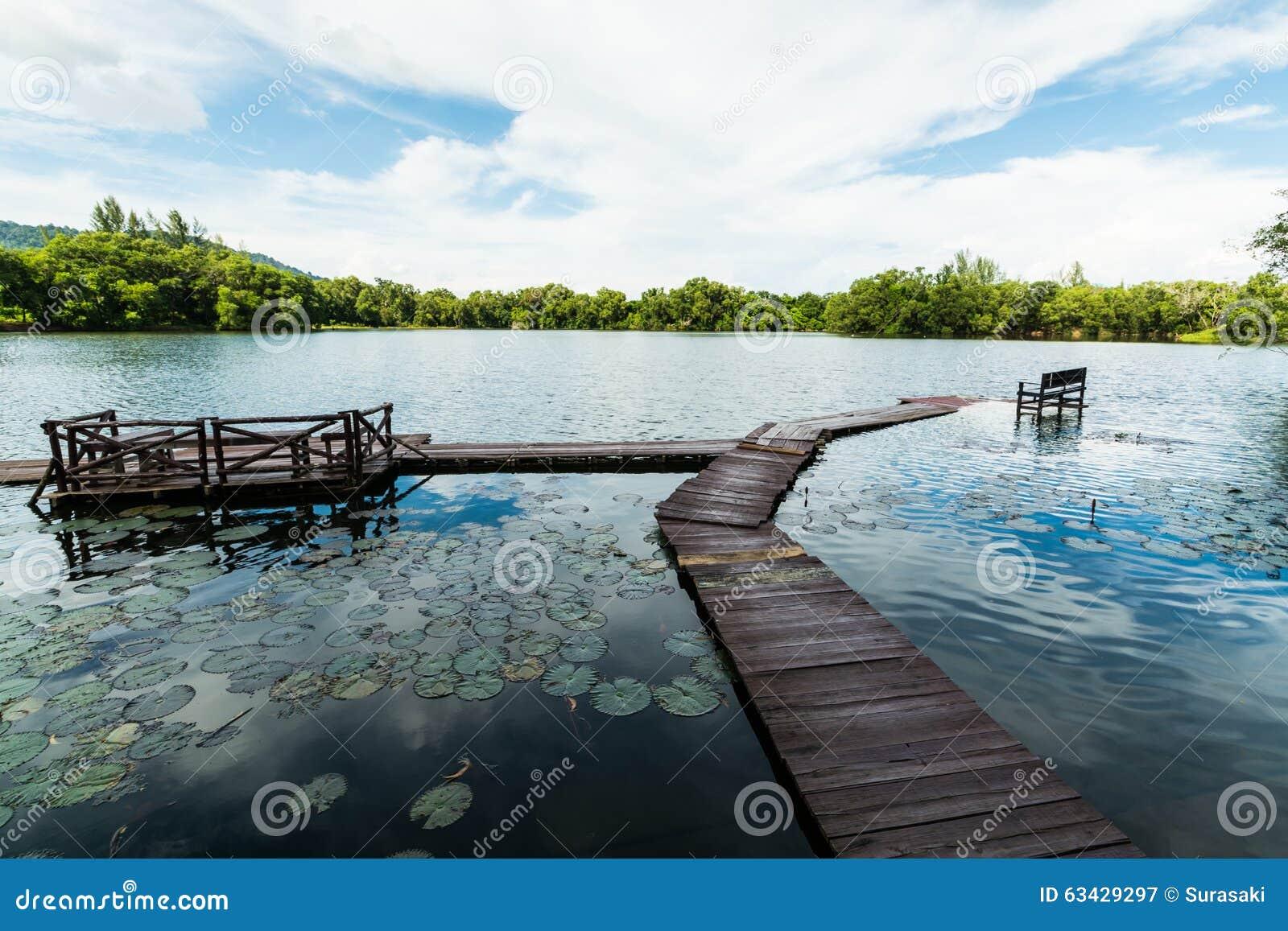 Φυσική λίμνη με το νεφελώδη μπλε ουρανό