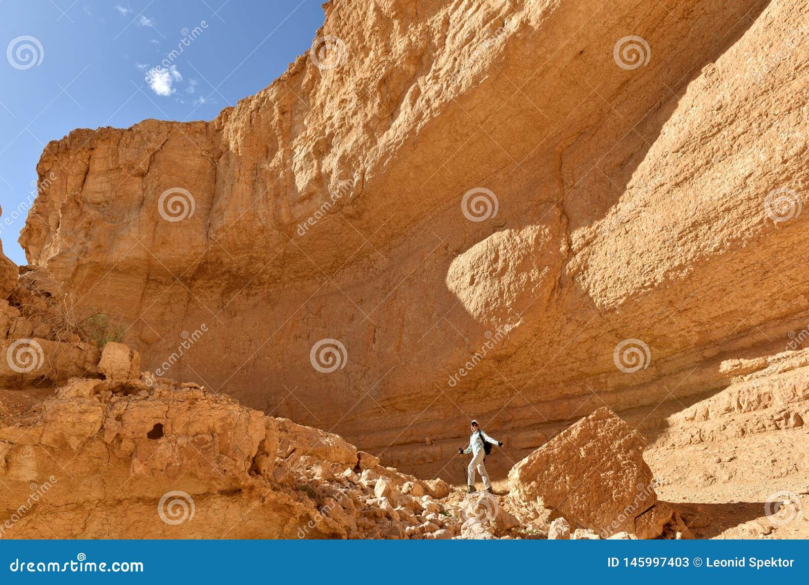 Φυσική πεζοπορία στο βουνό ερήμων Judea