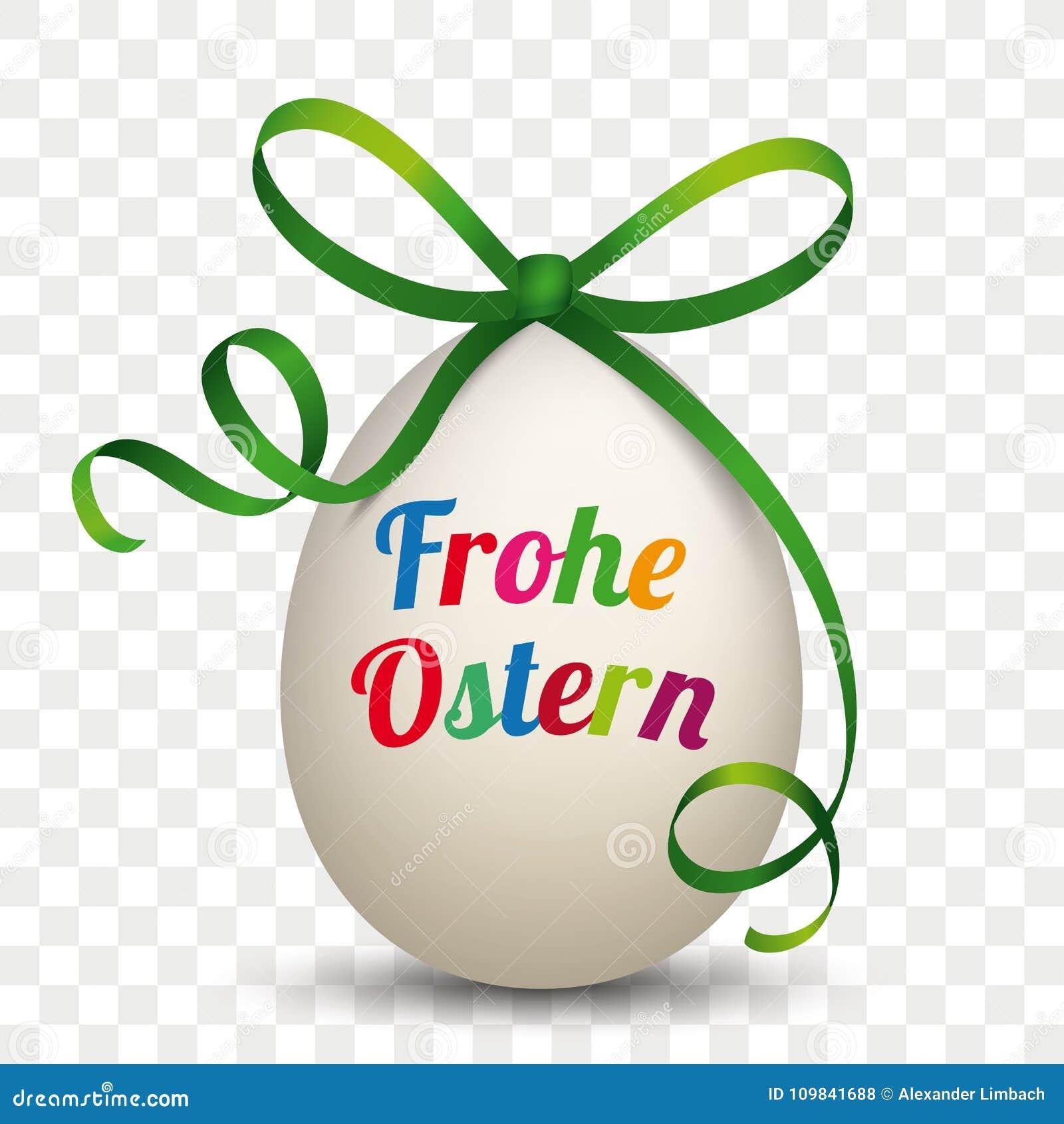 Φυσική πράσινη κορδέλλα Frohe Ostern αυγών διαφανές