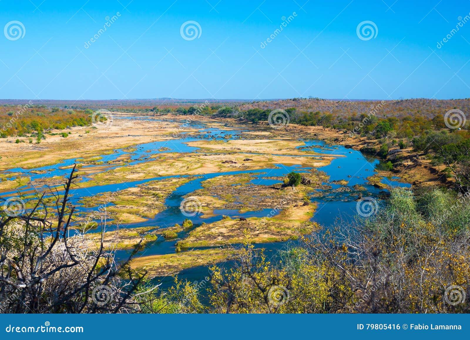Φυσικού και ζωηρόχρωμου τοπίο ποταμών Olifants, με την άγρια φύση στο εθνικό πάρκο Kruger, διάσημος προορισμός ταξιδιού στη Νότια