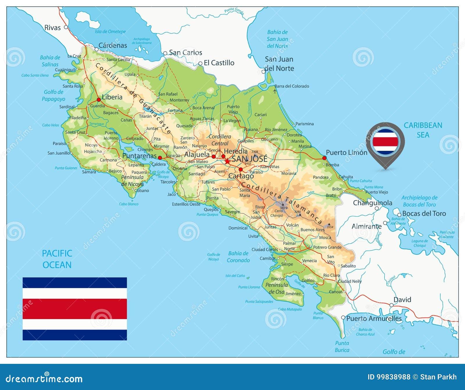 Φυσικός χάρτης της Κόστα Ρίκα