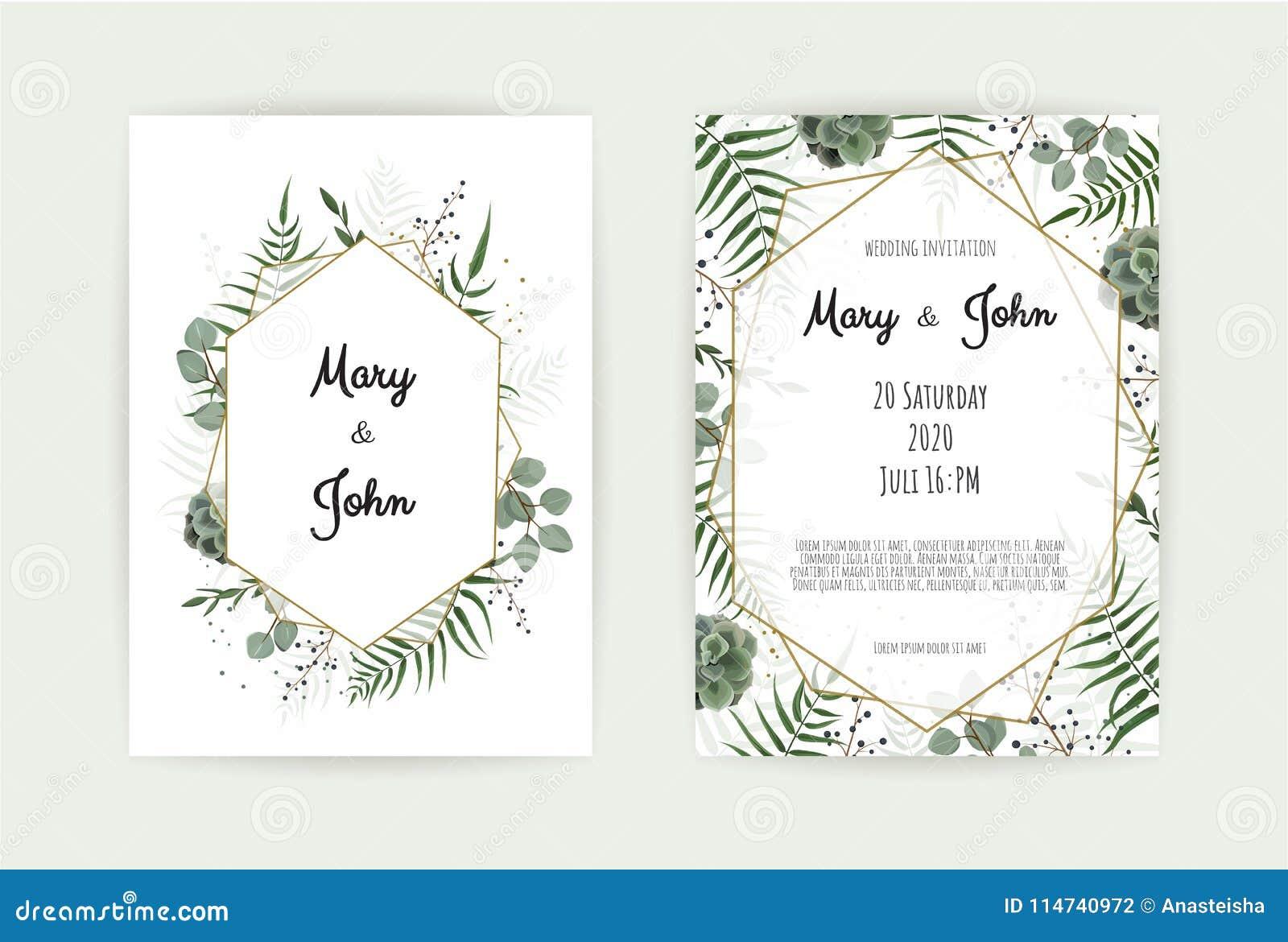 Φυσικό βοτανικό πρότυπο γαμήλιας πρόσκλησης Διανυσματική floral κάρτα σχεδίου Γεωμετρικό χρυσό πλαίσιο, σύνορα με το αντίγραφο