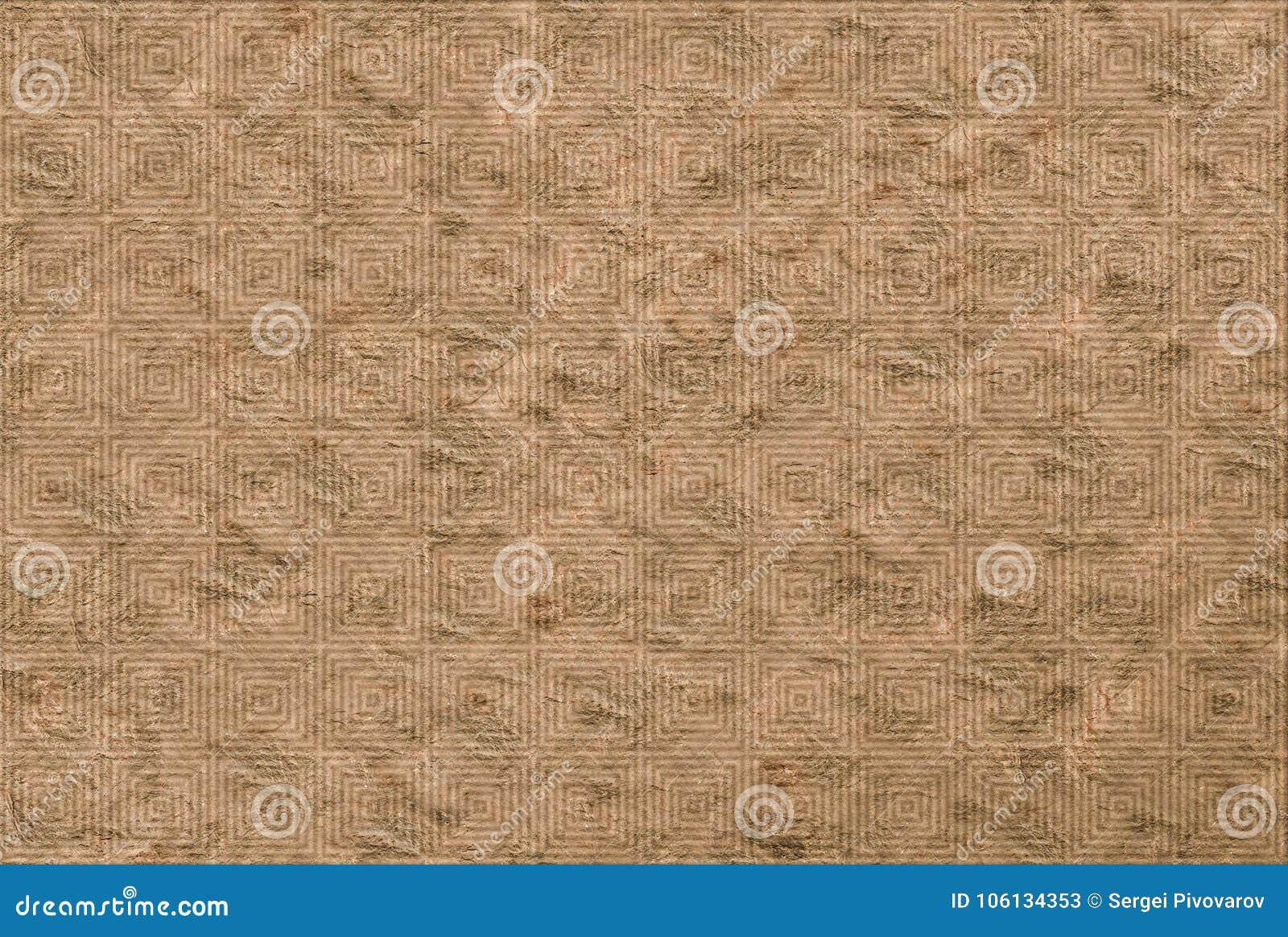 Φυσικό υπόβαθρο πετρών, μπεζ λαβύρινθος διακοσμήσεων βάσεων στην επιφάνεια του καμβά, αγροτικό έγγραφο