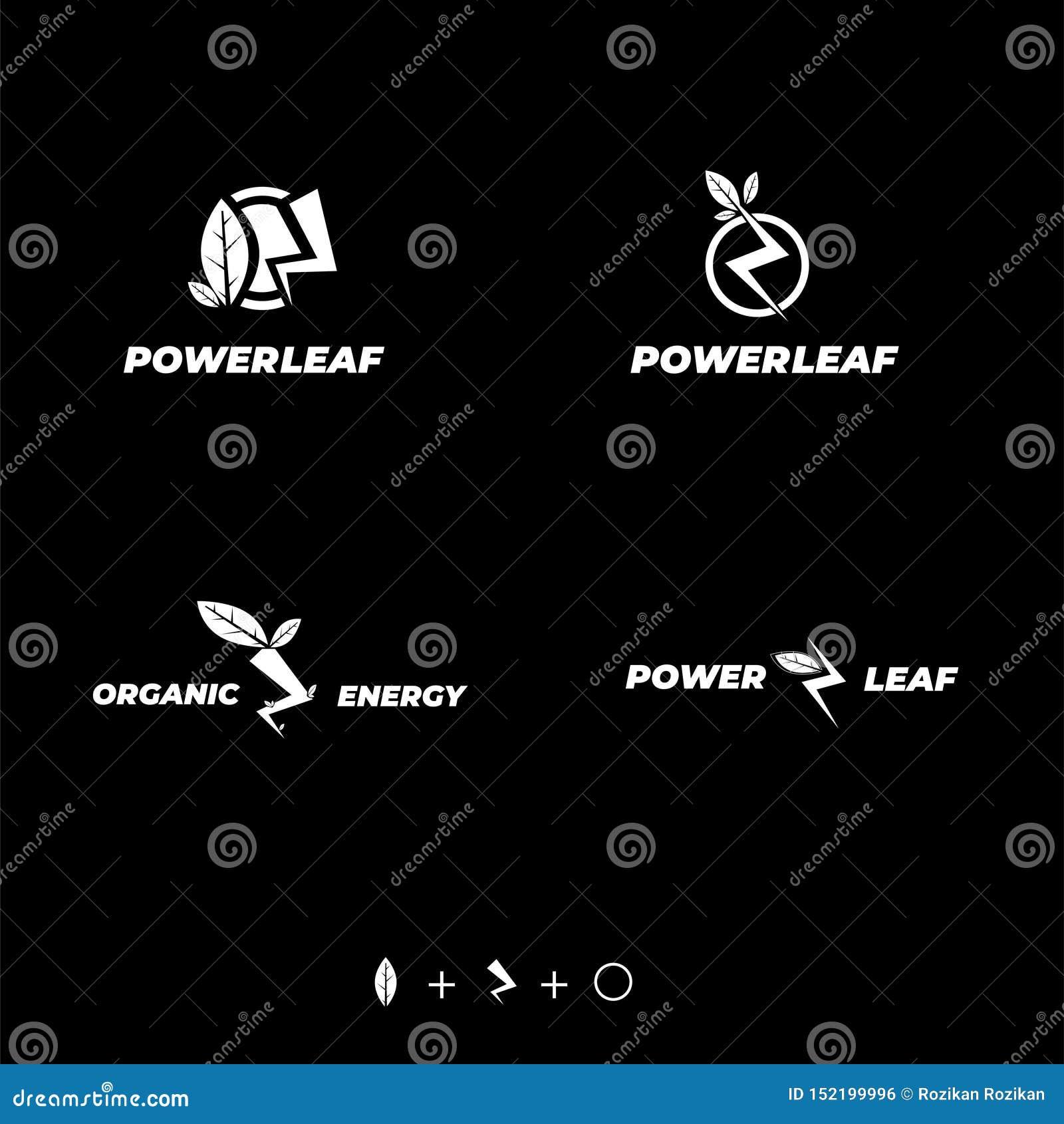 Φυσικό φύλλο, κύκλος και βροντή σχεδίου λογότυπων δύναμης