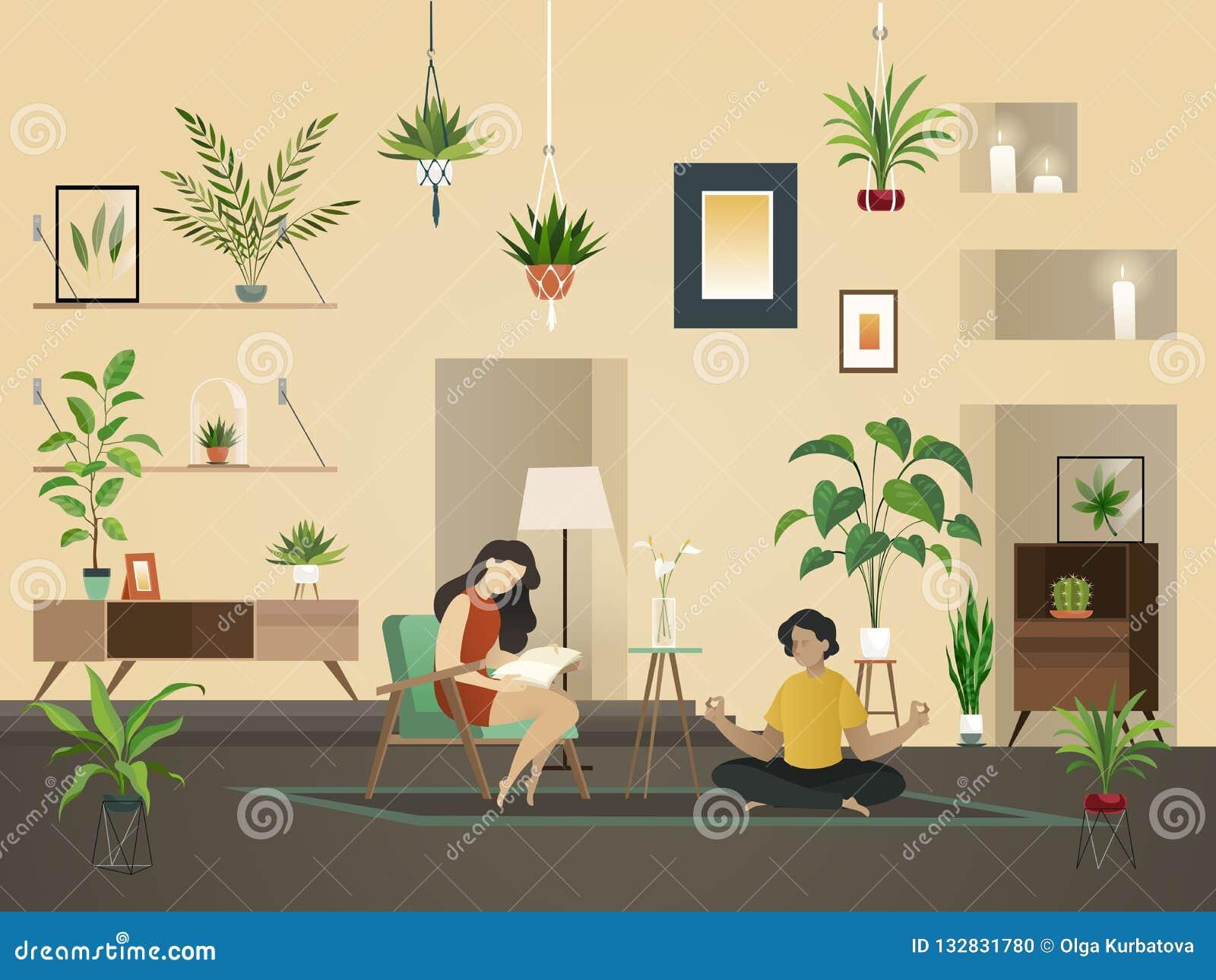 Φυτεύει στο σπίτι εσωτερικό Αστικός κήπος με την πράσινη φύτευση και άνθρωποι στην εσωτερική διανυσματική απεικόνιση δωματίων