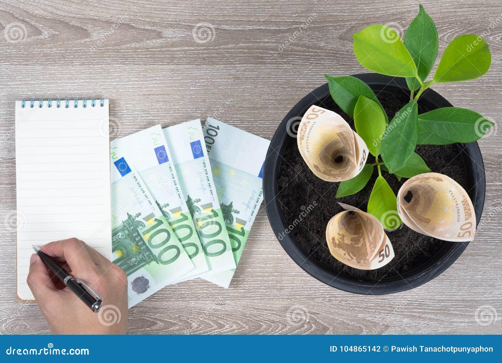 Φυτεύοντας τους ευρο- λογαριασμούς και τις εγκαταστάσεις στο μαύρο δοχείο λουλουδιών που τοποθετείται στο ξύλο