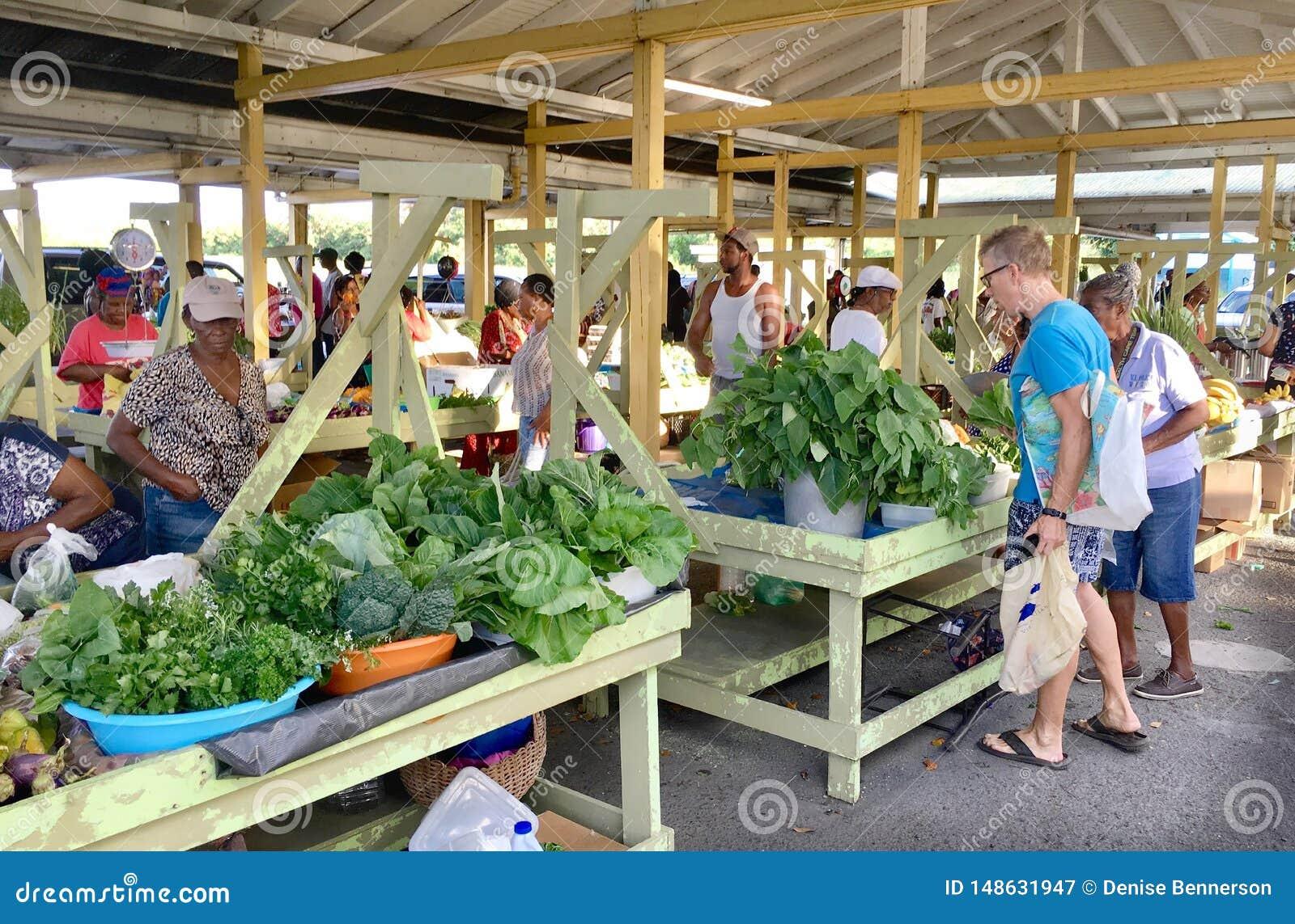 Φυτική αγορά στους Παρθένους Νήσους Καραϊβικές Θάλασσες του ST Croix ΗΠΑ