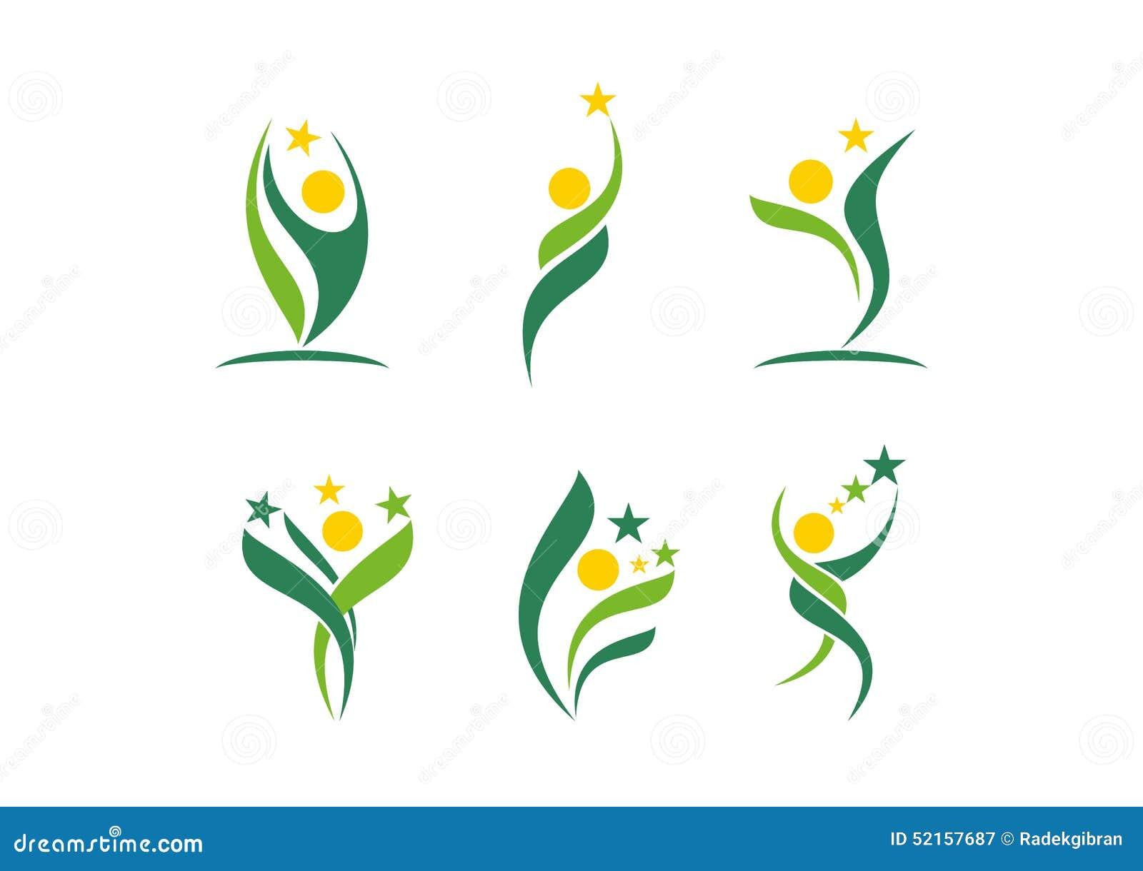 Φυτό, άνθρωποι, wellness, εορτασμός, φυσικός, αστέρι, λογότυπο, υγεία, ήλιος, φύλλο, βοτανική, οικολογία, καθορισμένο διάνυσμα σχ
