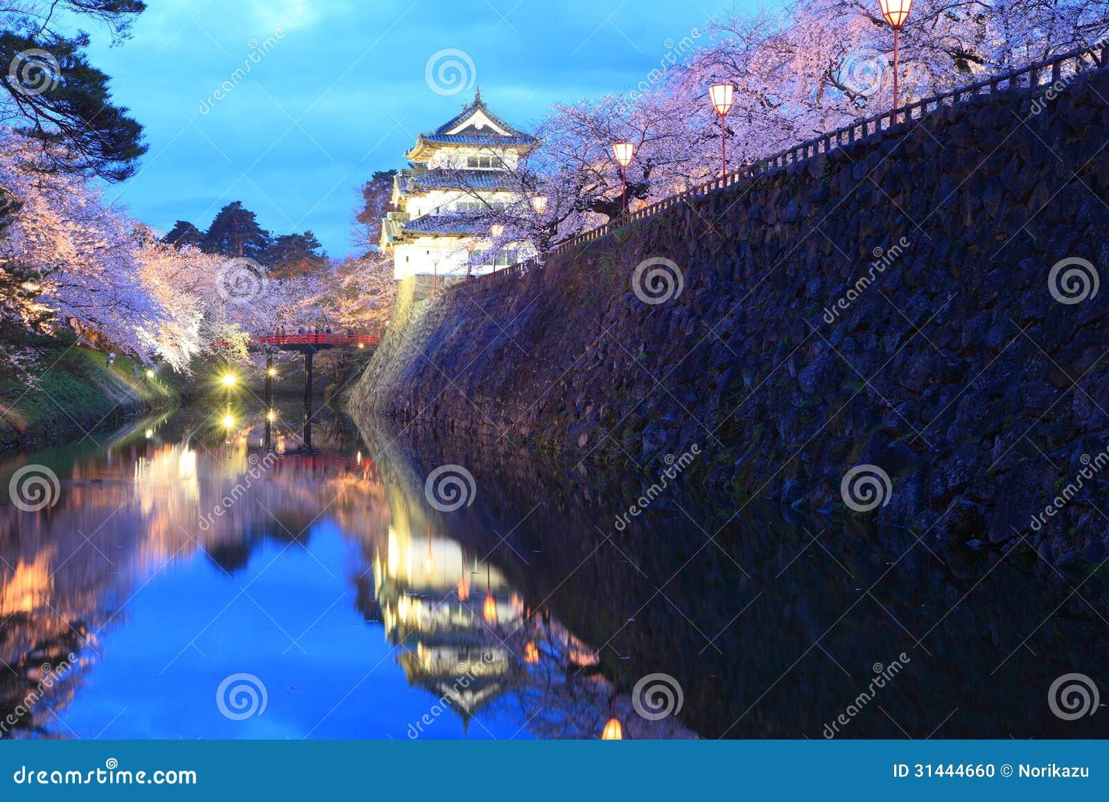 Φως επάνω των ανθών κάστρων και κερασιών Hirosaki