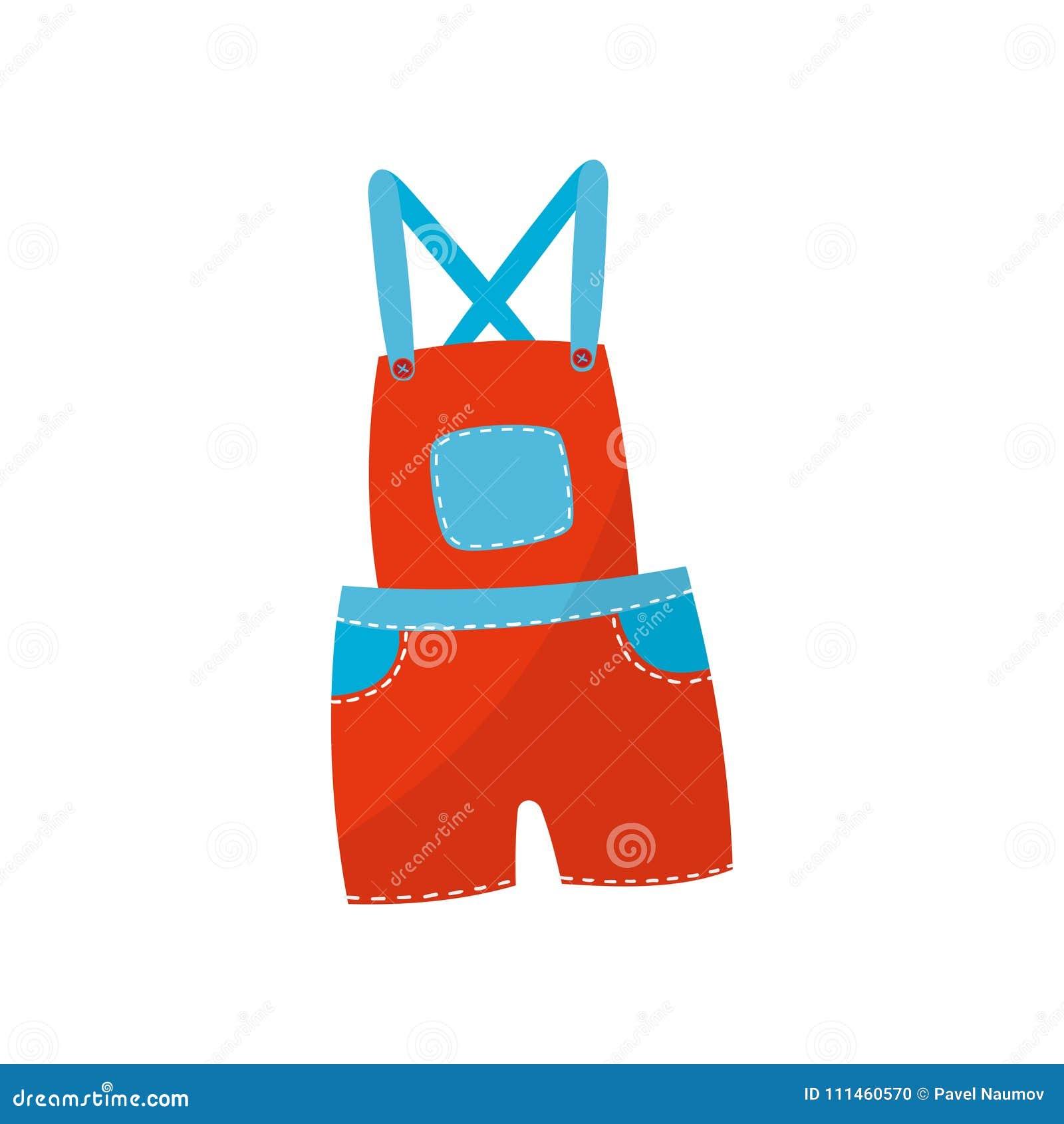Φωτεινά κόκκινα σορτς συνολικά με τις μπλε τσέπες Μοντέρνος ιματισμός για το αγόρι ή το κορίτσι μικρών παιδιών Ενδυμασία παιδιών