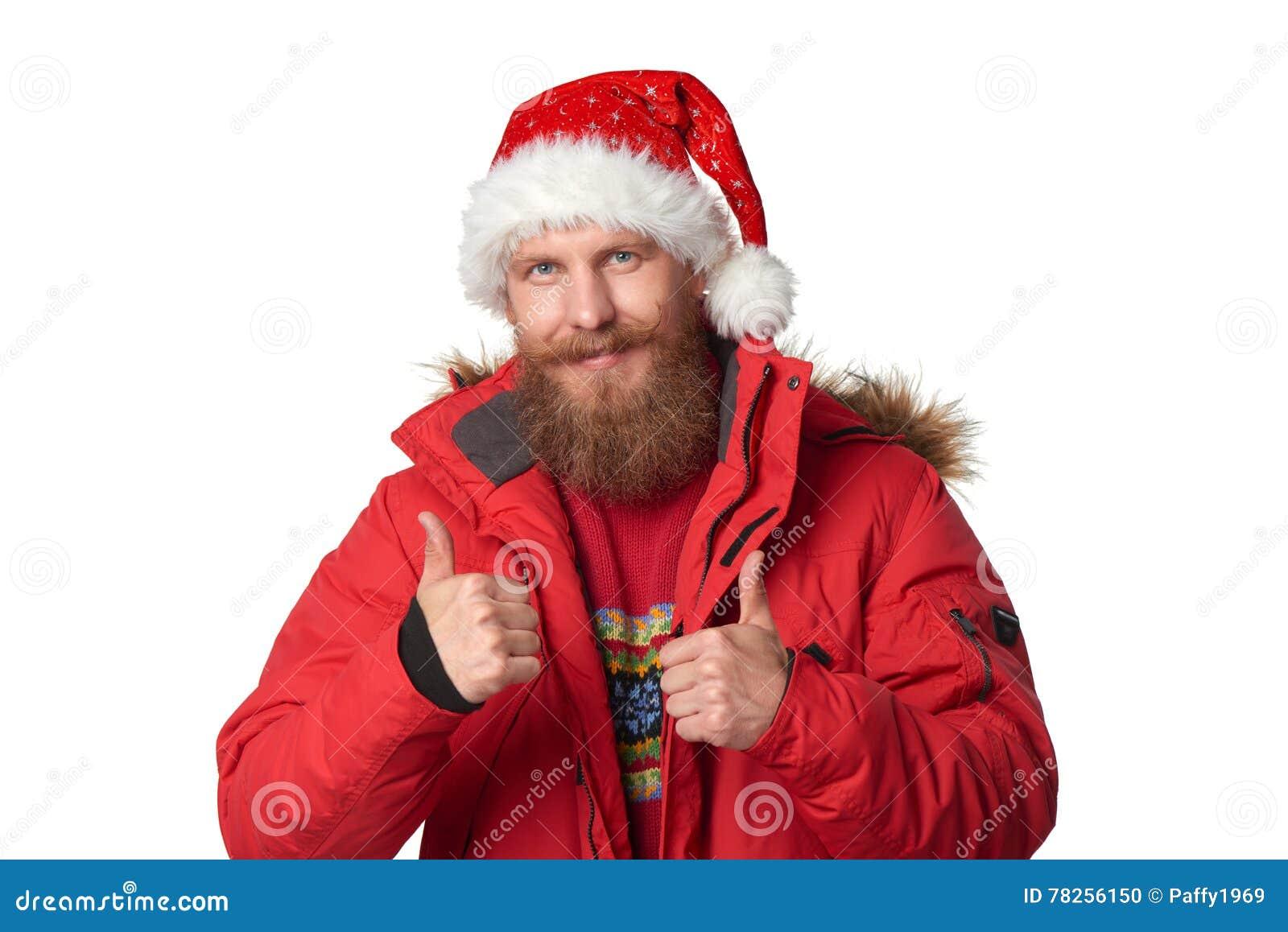 Φωτεινή εικόνα του όμορφου ατόμου στο καπέλο Χριστουγέννων