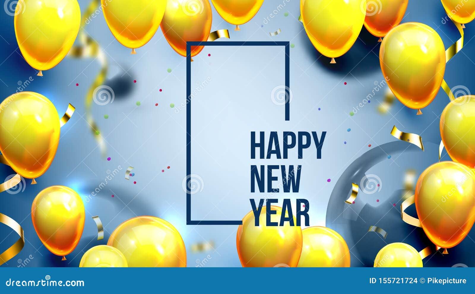 Φωτεινός προσκαλέστε το διάνυσμα εμβλημάτων καλής χρονιάς καρτών