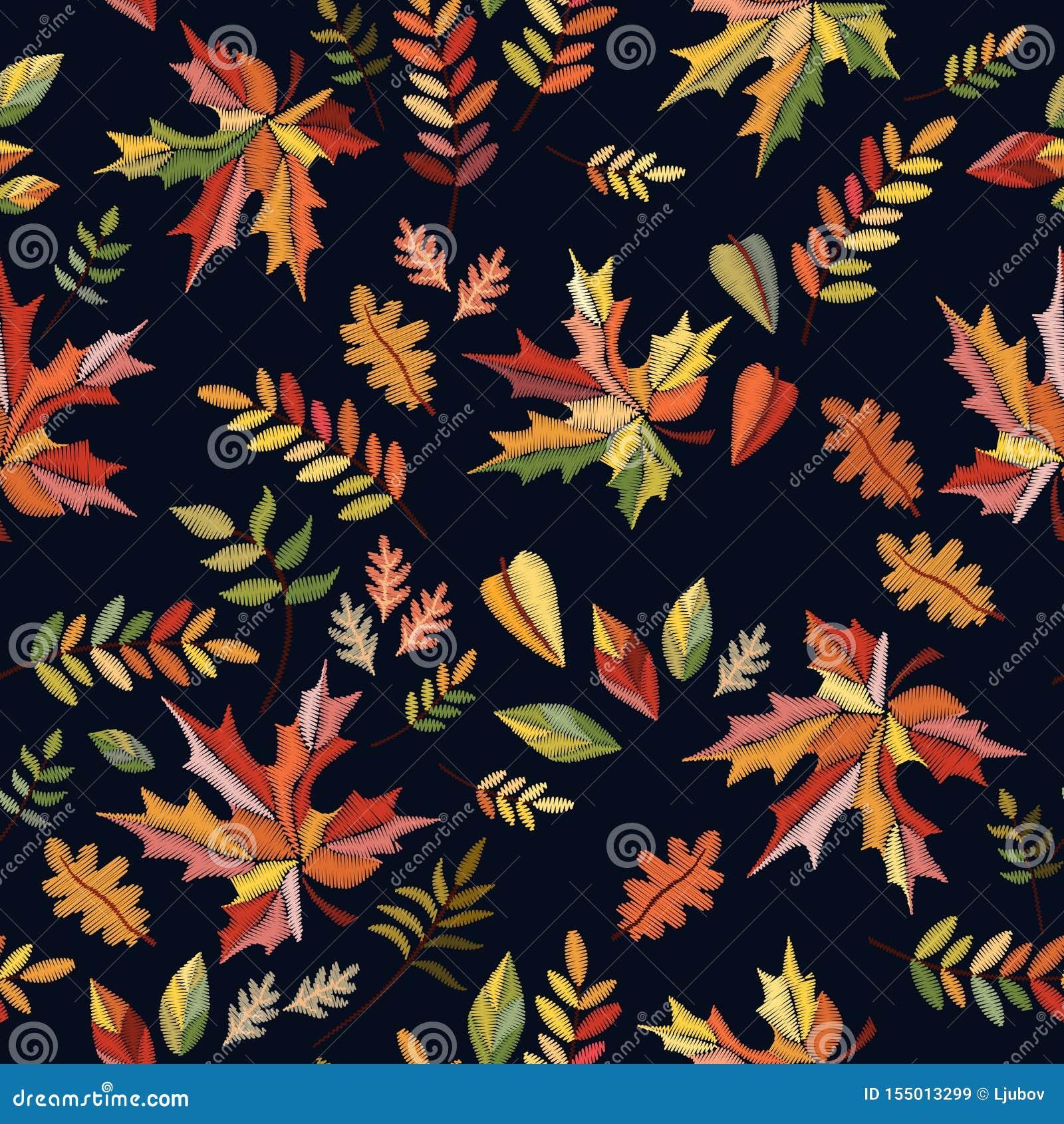 Φωτεινό άνευ ραφής σχέδιο κεντητικής με τα ζωηρόχρωμα φύλλα φθινοπώρου στο μαύρο υπόβαθρο