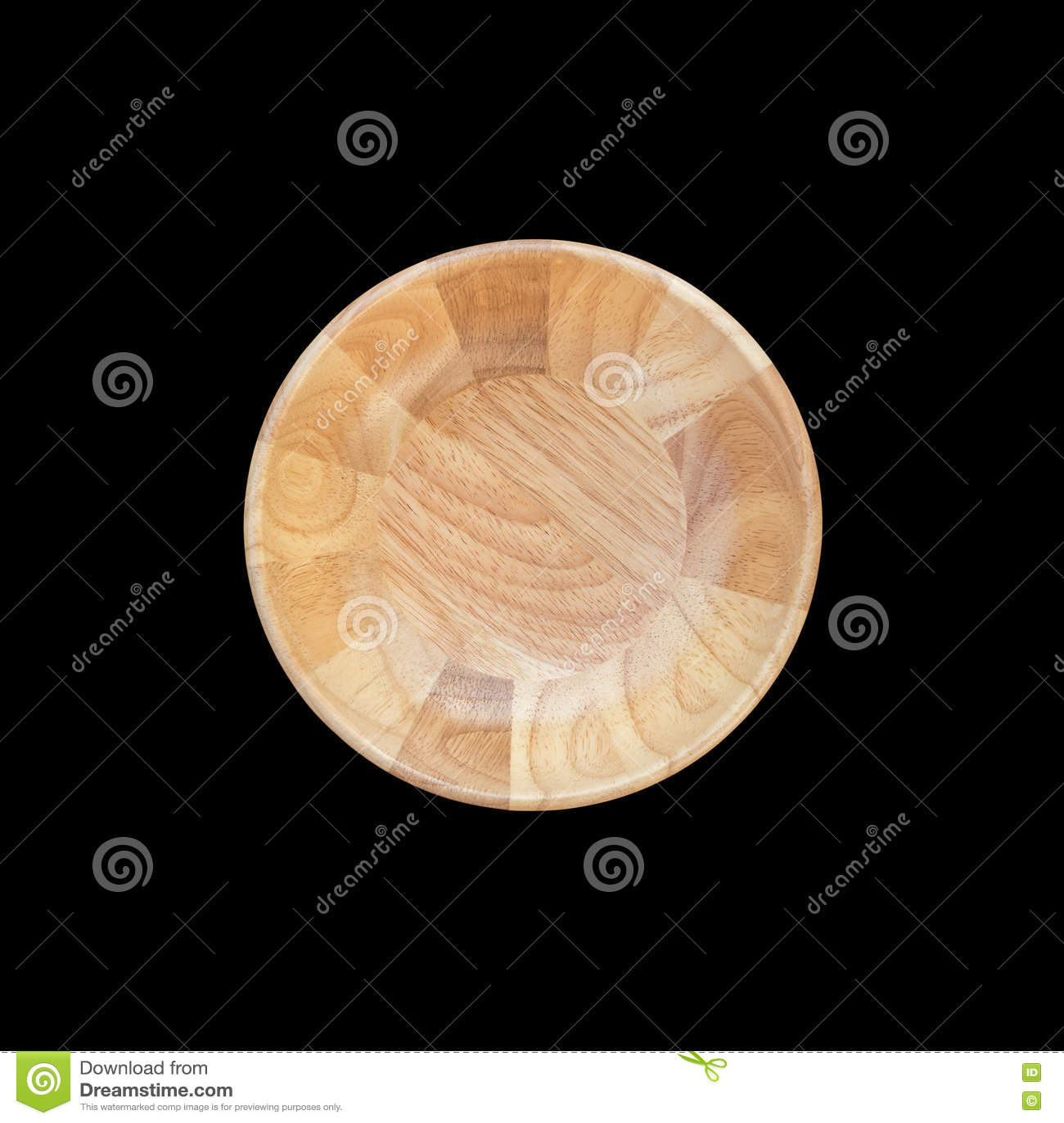 Φωτεινό κενό ξύλινο κύπελλο τοπ άποψης που απομονώνεται στο λευκό Σωζόμενος με