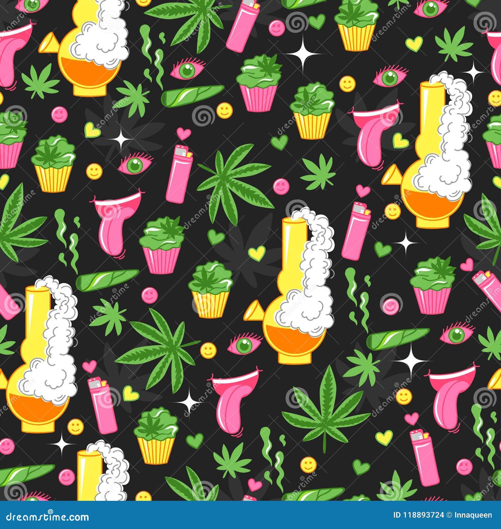 Φωτεινό σχέδιο με τις καννάβεις, μαριχουάνα, cupcakes, καπνός, αναπτήρας, χαμόγελο