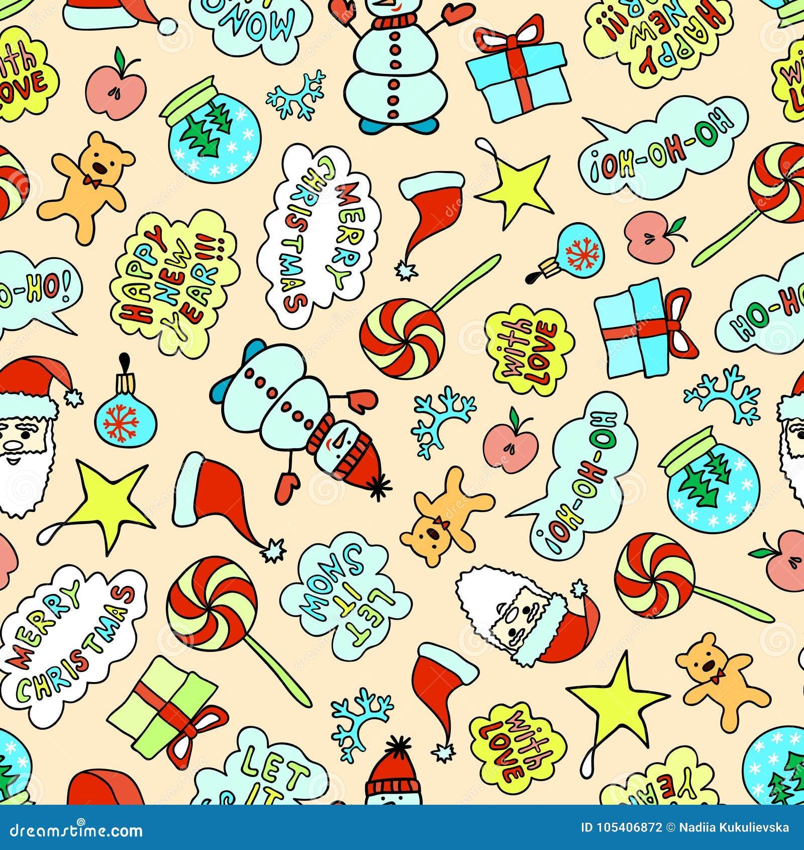 Download Φωτεινό σχέδιο Χριστουγέννων κινούμενων σχεδίων - άνευ ραφής σύσταση στο ρόδινο υπόβαθρο Διανυσματική απεικόνιση - εικονογραφία από δεκέμβριος, γιορτάστε: 105406872