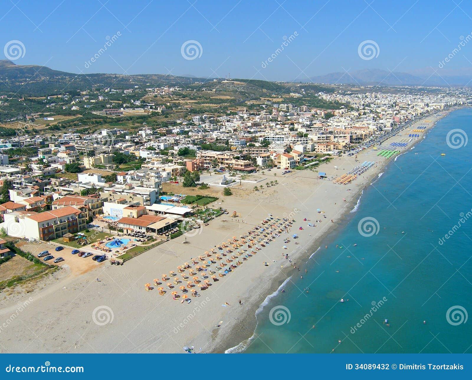 Φωτογραφία αέρα, παραλία Rethymno, Κρήτη, Ελλάδα