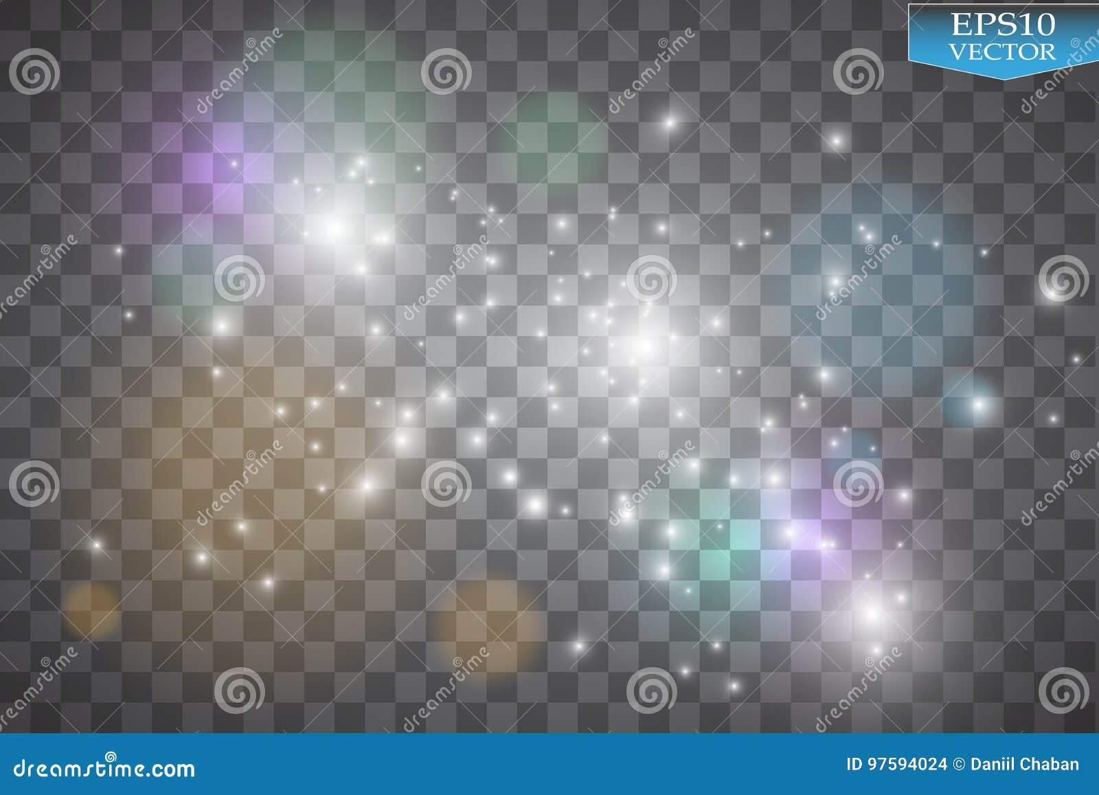 Φω τα στο διαφανές υπόβαθρο Το διανυσματικό λευκό ακτινοβολεί αφηρημένη απεικόνιση κυμάτων Άσπρο σπινθήρισμα ιχνών σκόνης αστεριώ