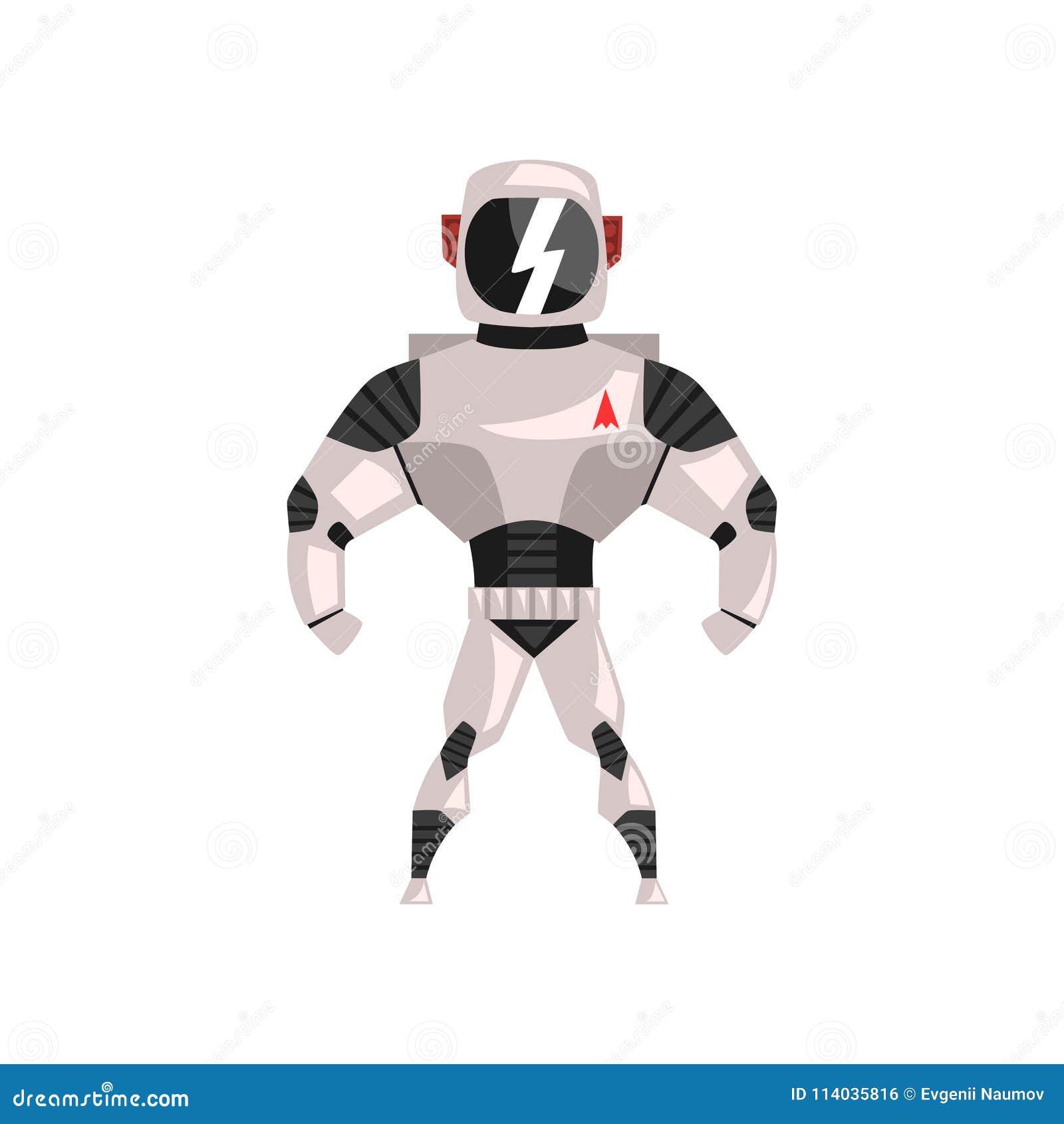 Φόρμα αστροναύτη ρομπότ, superhero, cyborg διανυσματική απεικόνιση κοστουμιών σε ένα άσπρο υπόβαθρο