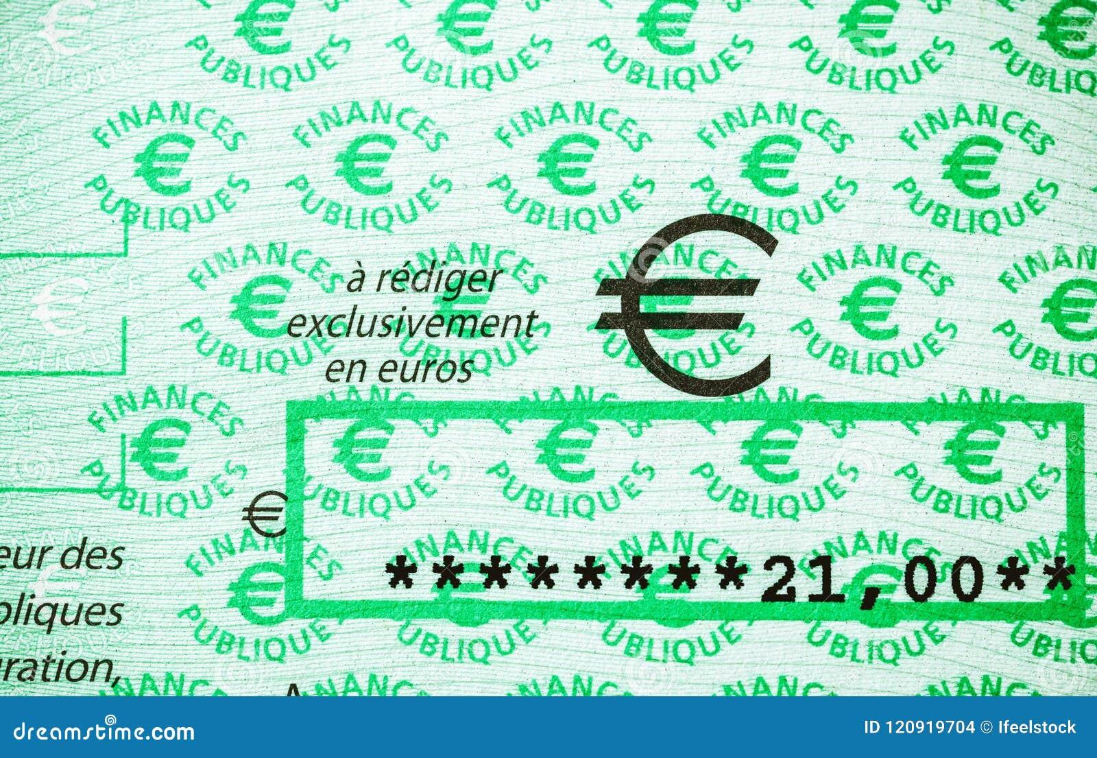 Φόροι στην επιταγή της Γαλλίας που εκδίδεται από την κατεύθυνση Generale des Fina