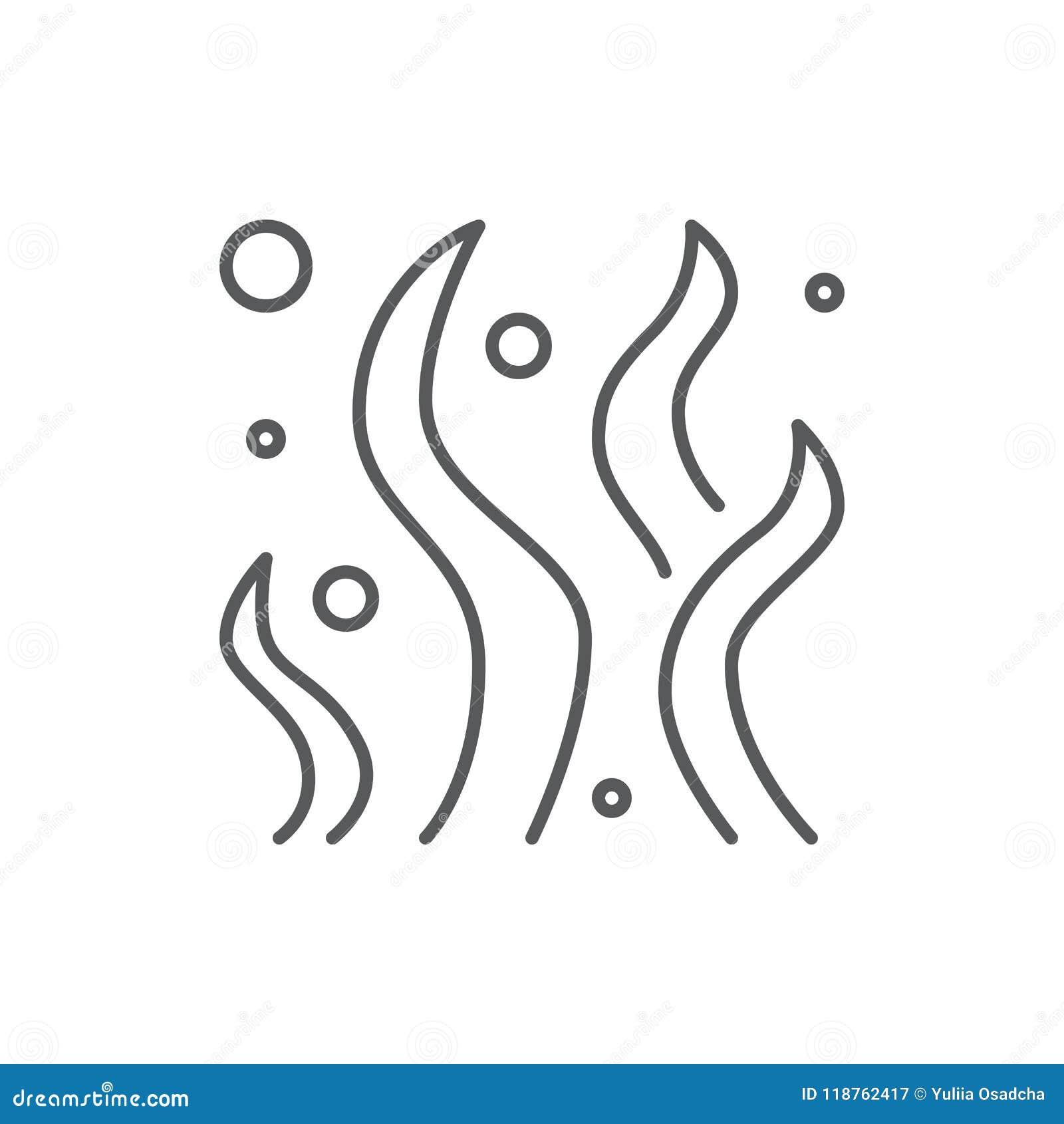 Φύκι με το editable εικονίδιο γραμμών βολβών - υποβρύχιο στοιχείο χλωρίδας ωκεανών ή ενυδρείων