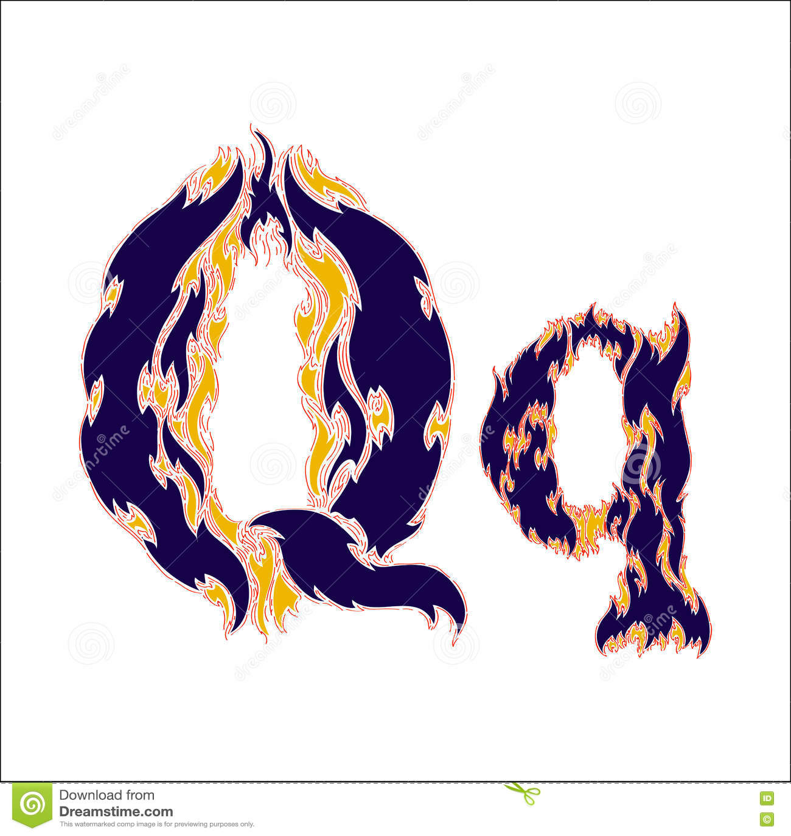 Φλογερό μπλε γράμμα Q πηγών σε ένα άσπρο υπόβαθρο