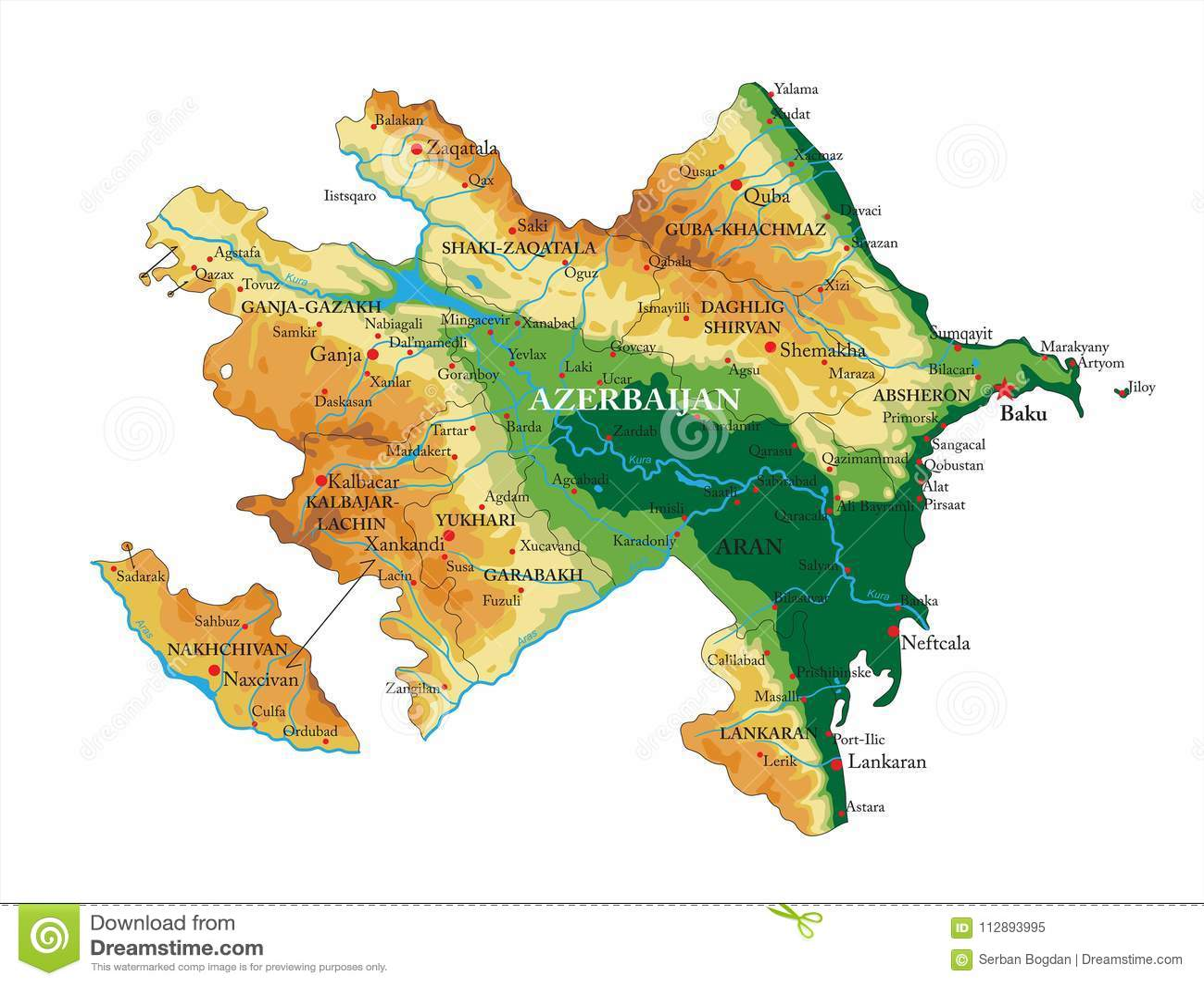 Χάρτης ανακούφισης του Αζερμπαϊτζάν