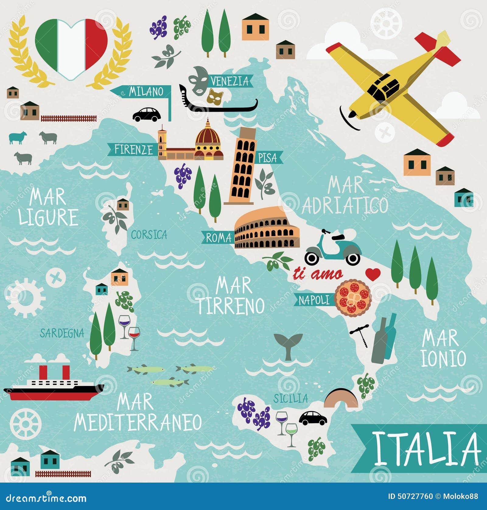 Χάρτης κινούμενων σχεδίων της Ιταλίας