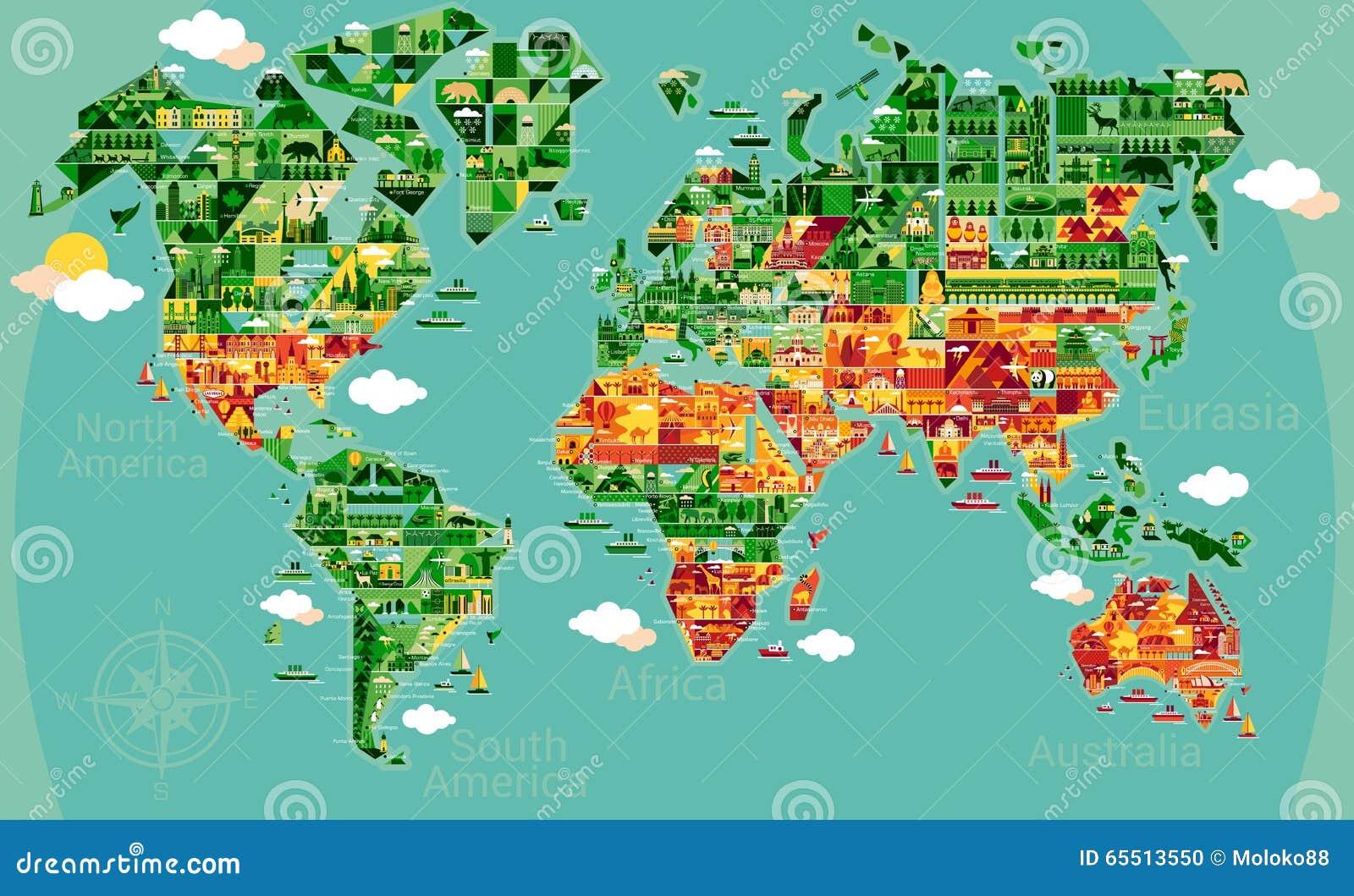Χάρτης κινούμενων σχεδίων της Νότιας Αμερικής