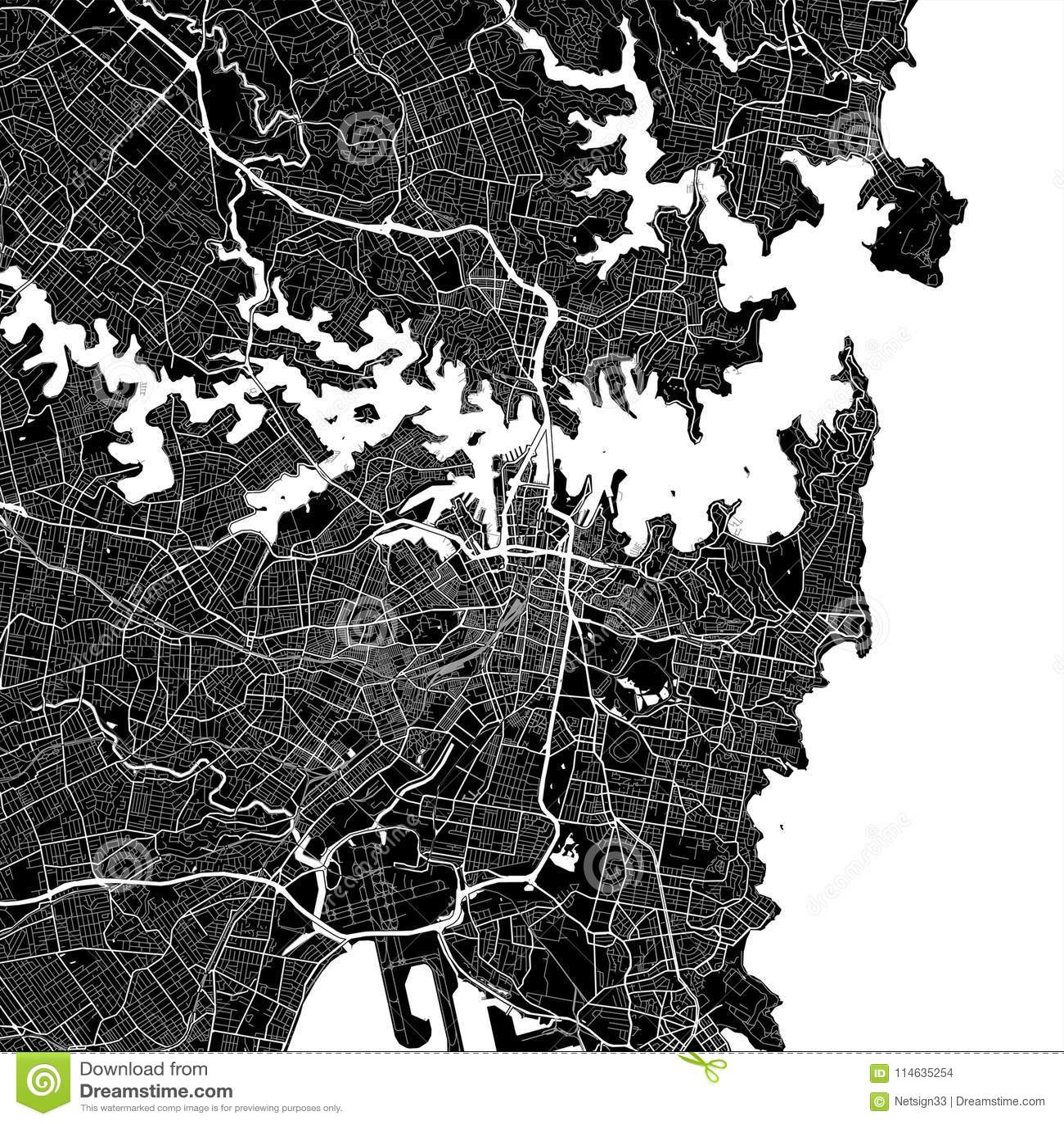 Χάρτης περιοχής του Σίδνεϊ, Αυστραλία