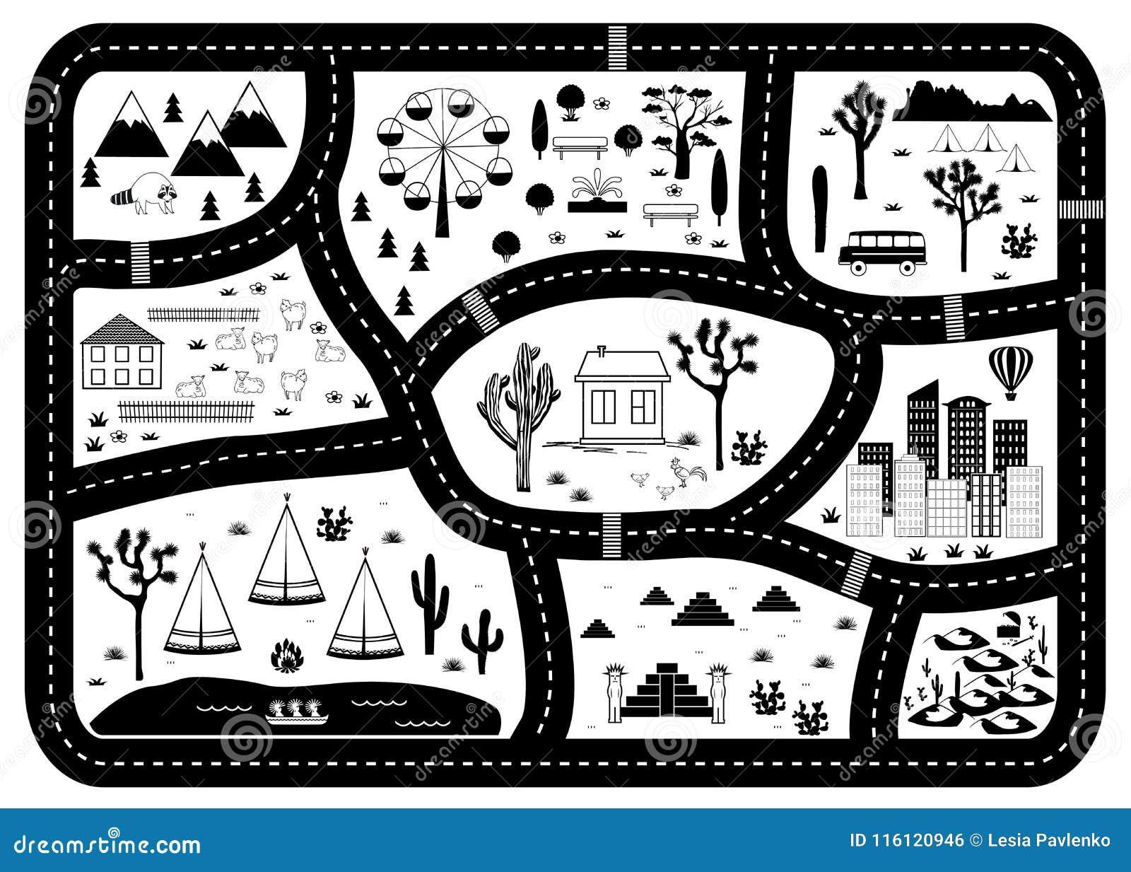 Χάρτης περιπέτειας δρόμων, βουνών και ξύλων Τάπητας παιχνιδιού παιδιών