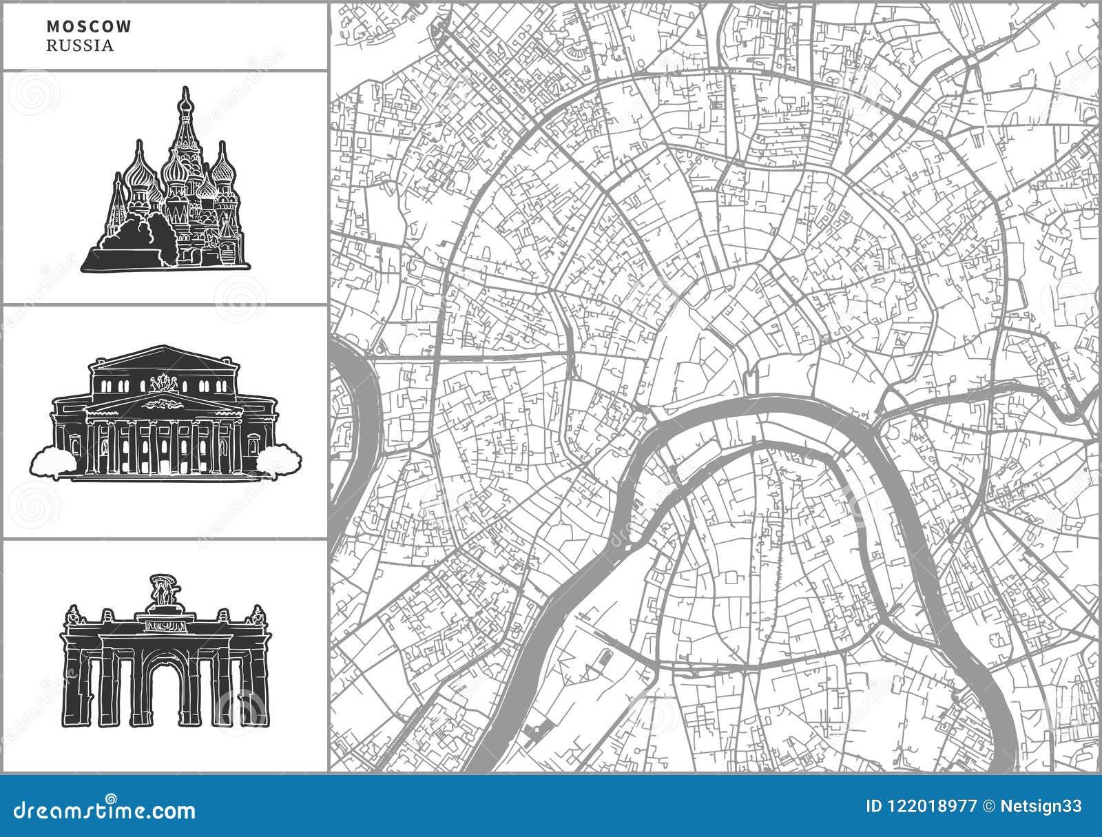Χάρτης πόλεων της Μόσχας με τα hand-drawn εικονίδια αρχιτεκτονικής