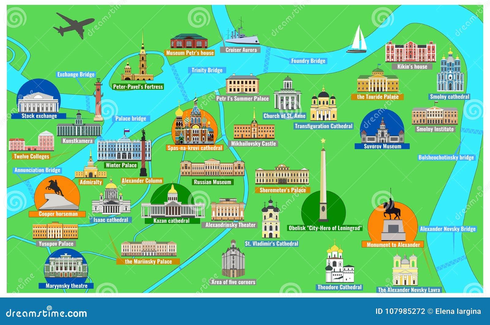 Χάρτης της Αγία Πετρούπολης με τα διάσημα ορόσημα