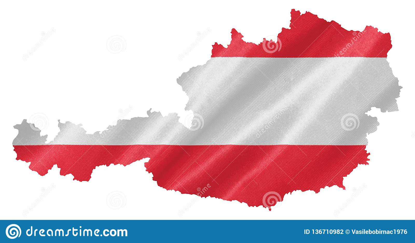 Χάρτης της Αυστρίας με τη σημαία