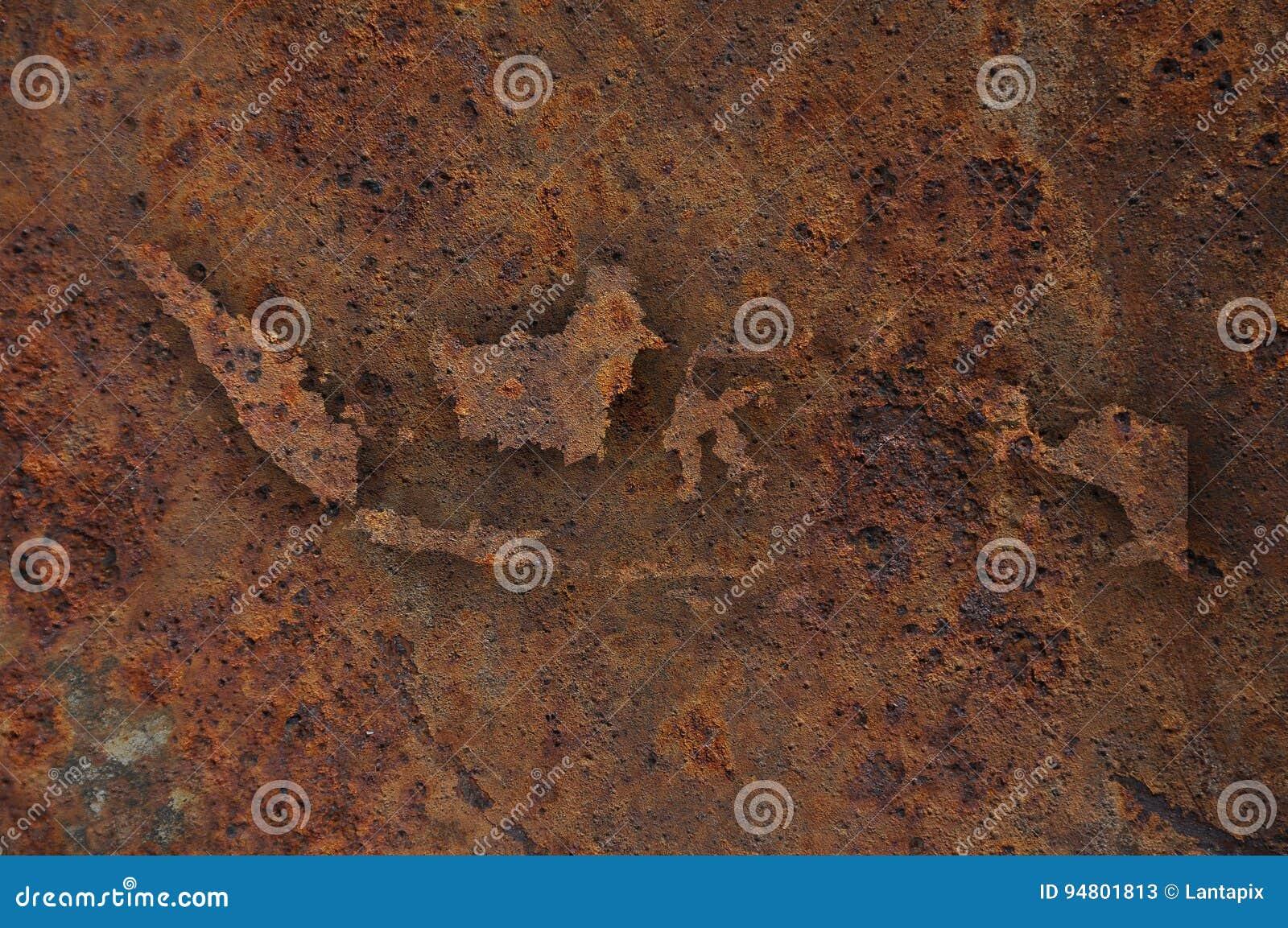 Χάρτης της Ινδονησίας στο σκουριασμένο μέταλλο