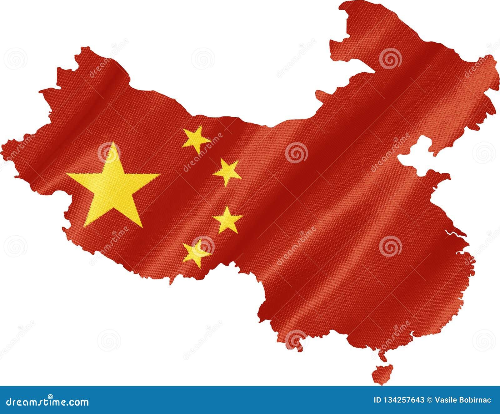 Χάρτης της Κίνας με τη σημαία