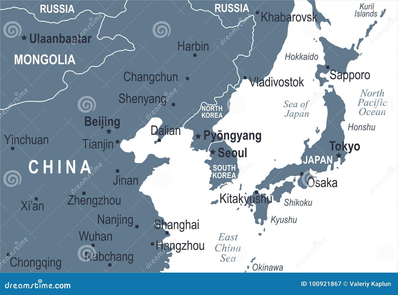 Χάρτης της Νότιας Κορέας Ιαπωνία Κίνα Ρωσία Μογγολία Βόρεια Κορεών - διανυσματική απεικόνιση