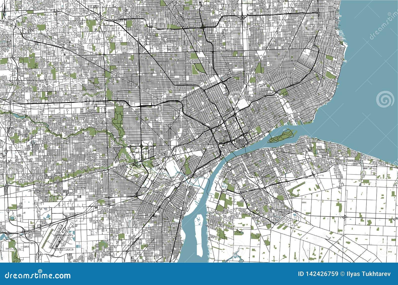 Χάρτης της πόλης του Ντιτρόιτ, Μίτσιγκαν, ΗΠΑ