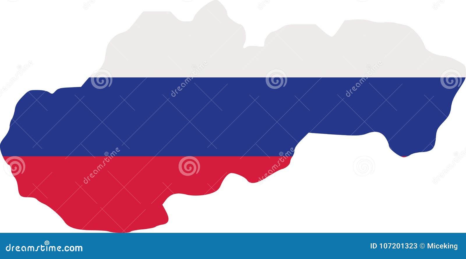Χάρτης της Σλοβακίας με τη σημαία
