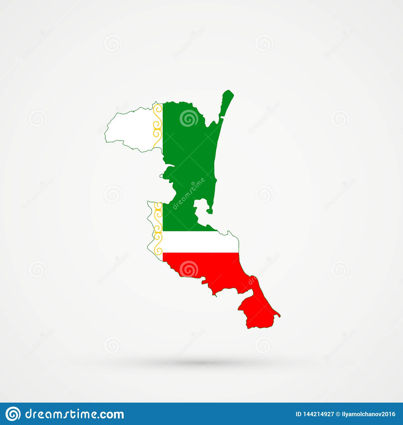 Χάρτης του Νταγκεστάν Kumykia στα χρώματα σημαιών Τσετσενίας, editable διάνυσμα