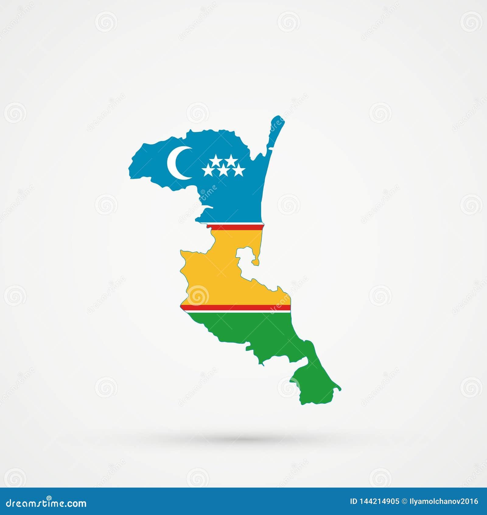 Χάρτης του Νταγκεστάν Kumykia στα χρώματα σημαιών Karakalpakstan, editable διάνυσμα