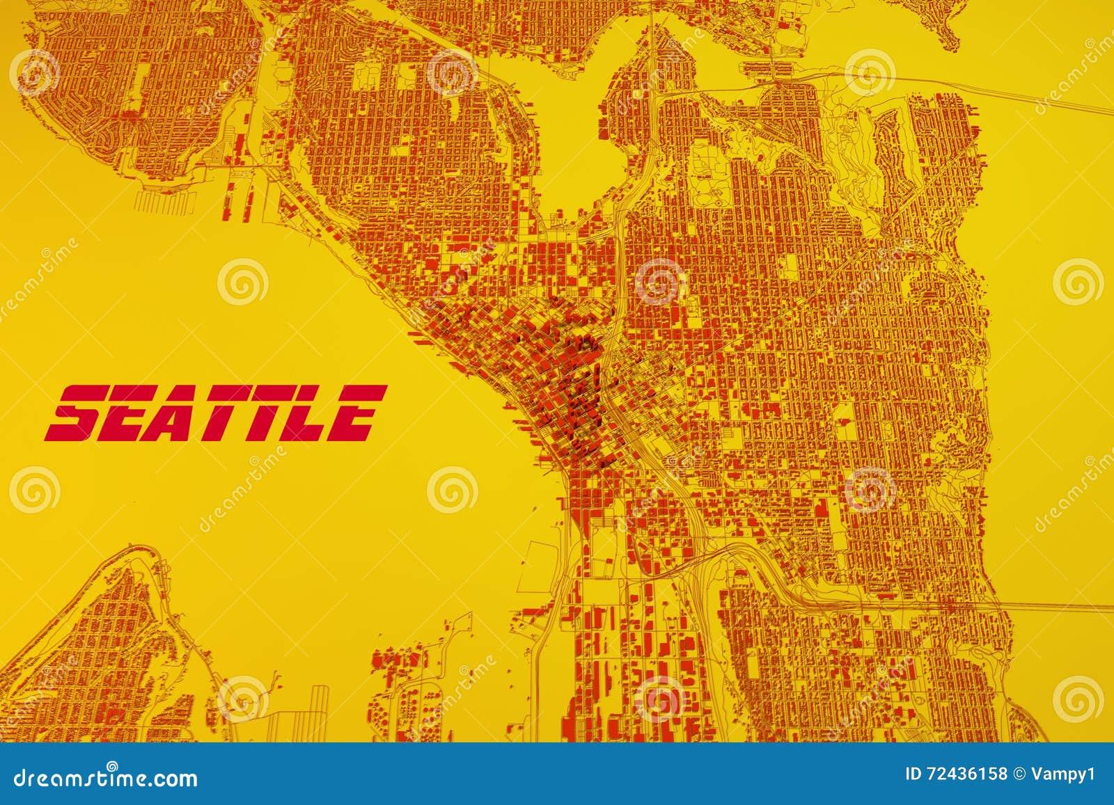 Χάρτης του Σιάτλ, δορυφορική άποψη, Ηνωμένες Πολιτείες