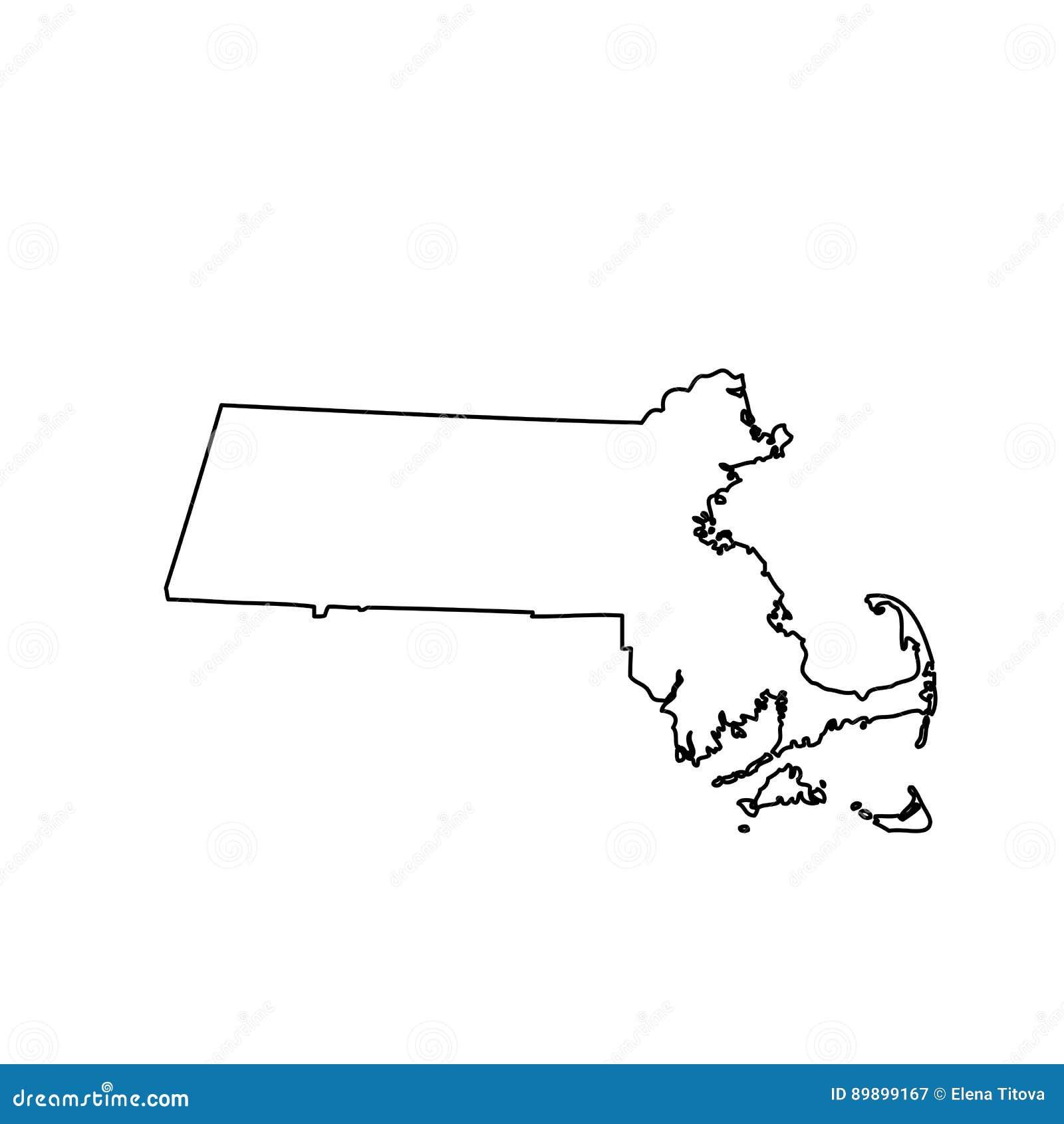 Χάρτης του U S κράτος Μασαχουσέτη