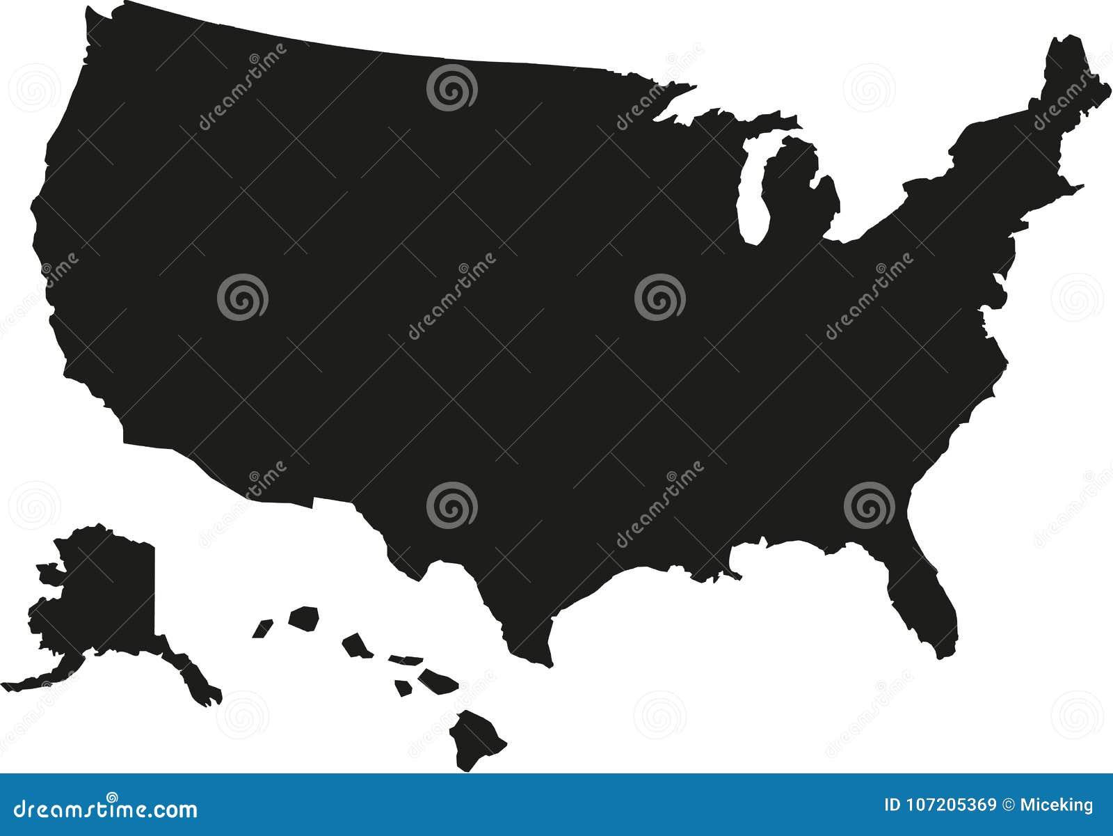 Χάρτης των Ηνωμένων Πολιτειών της Αμερικής με τη Χαβάη
