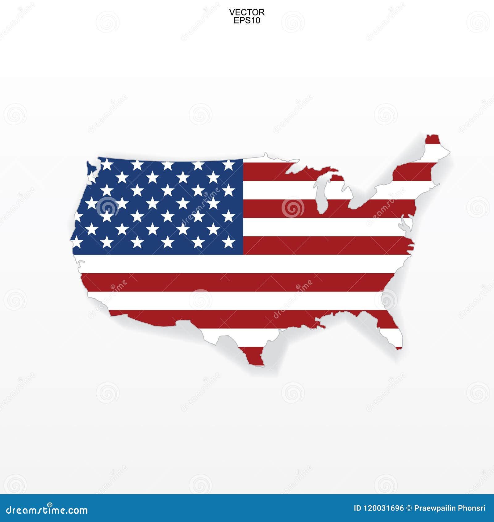 Χάρτης των ΗΠΑ με το σχέδιο αμερικανικών σημαιών Περίληψη του χάρτη ` Ηνωμένες Πολιτείες της Αμερικής ` στο άσπρο υπόβαθρο