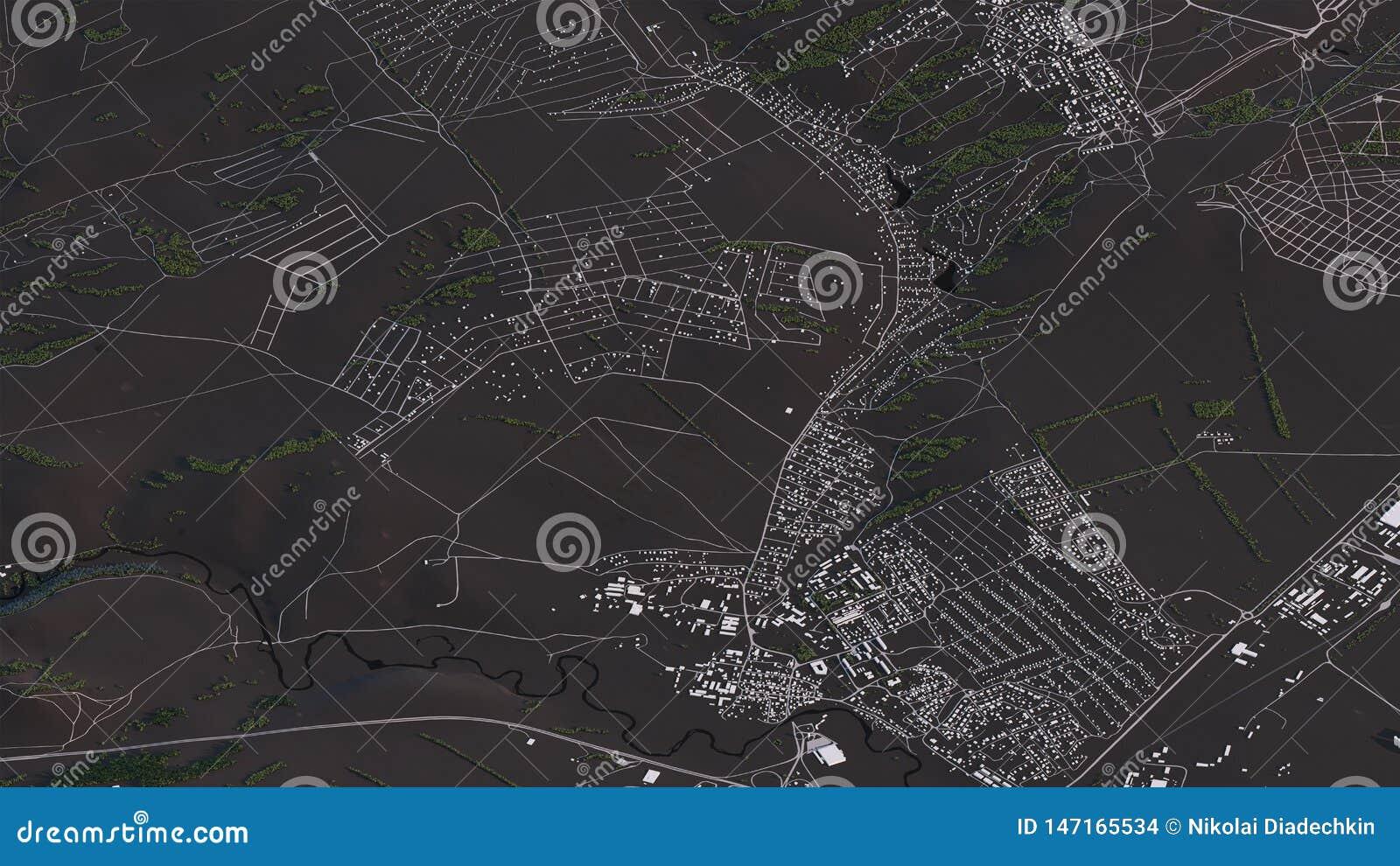 Χάρτης Krasnoyarsk στους τρισδιάστατους isometric δρόμους και τα κτήρια τοπίων