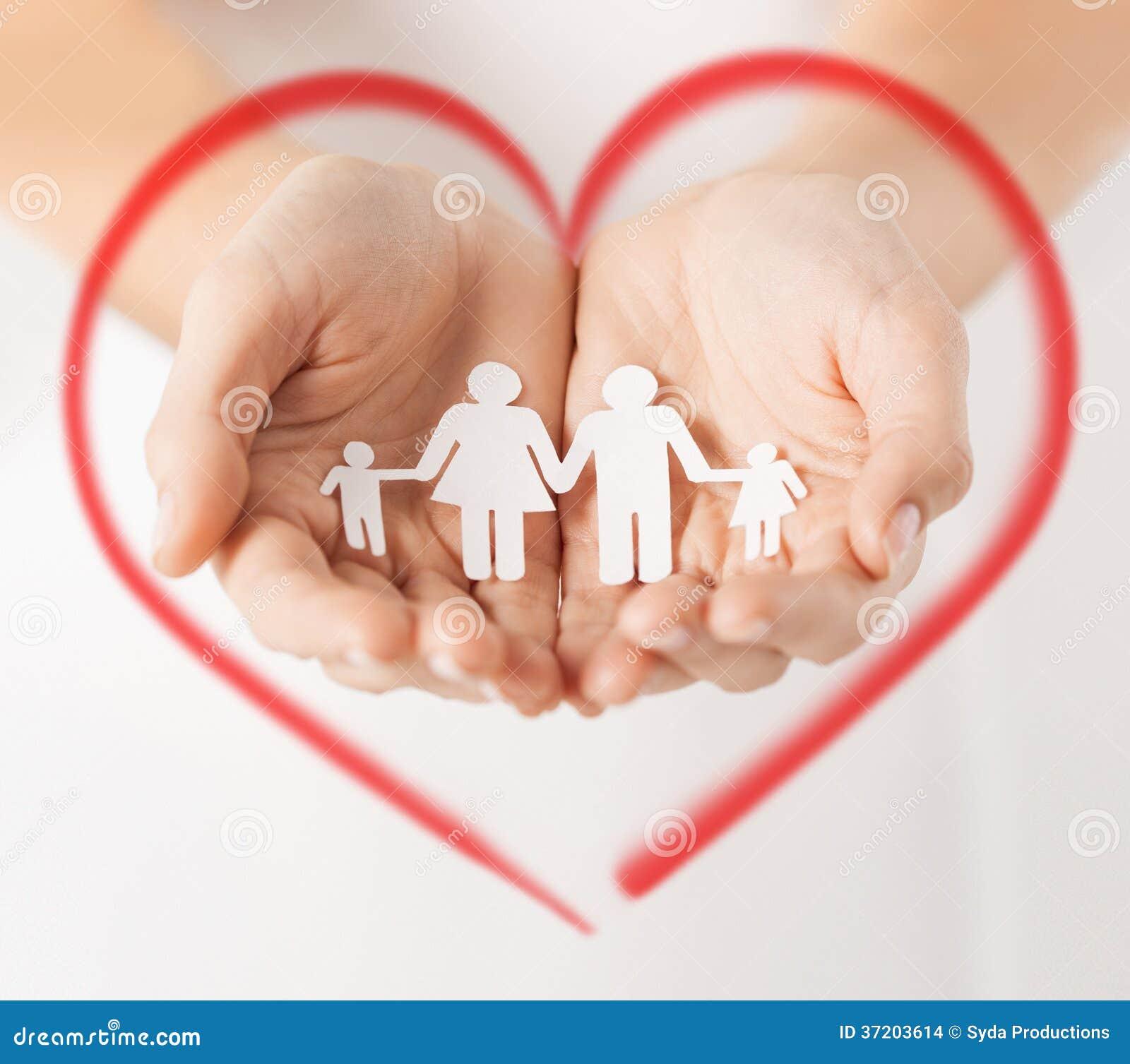 Χέρια γυναίκας με την οικογένεια ανδρών εγγράφου