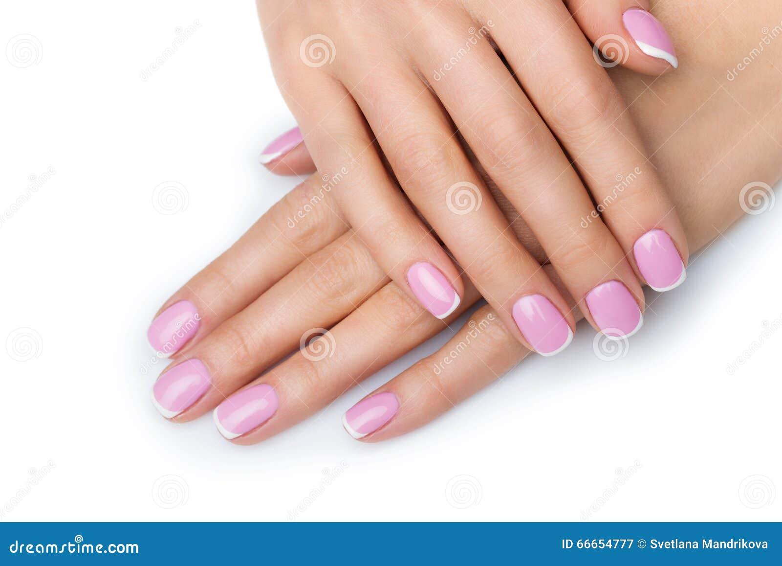 df8dee8e3d74 Χέρια γυναικών με το γαλλικό μανικιούρ Στοκ Εικόνα - εικόνα από ...
