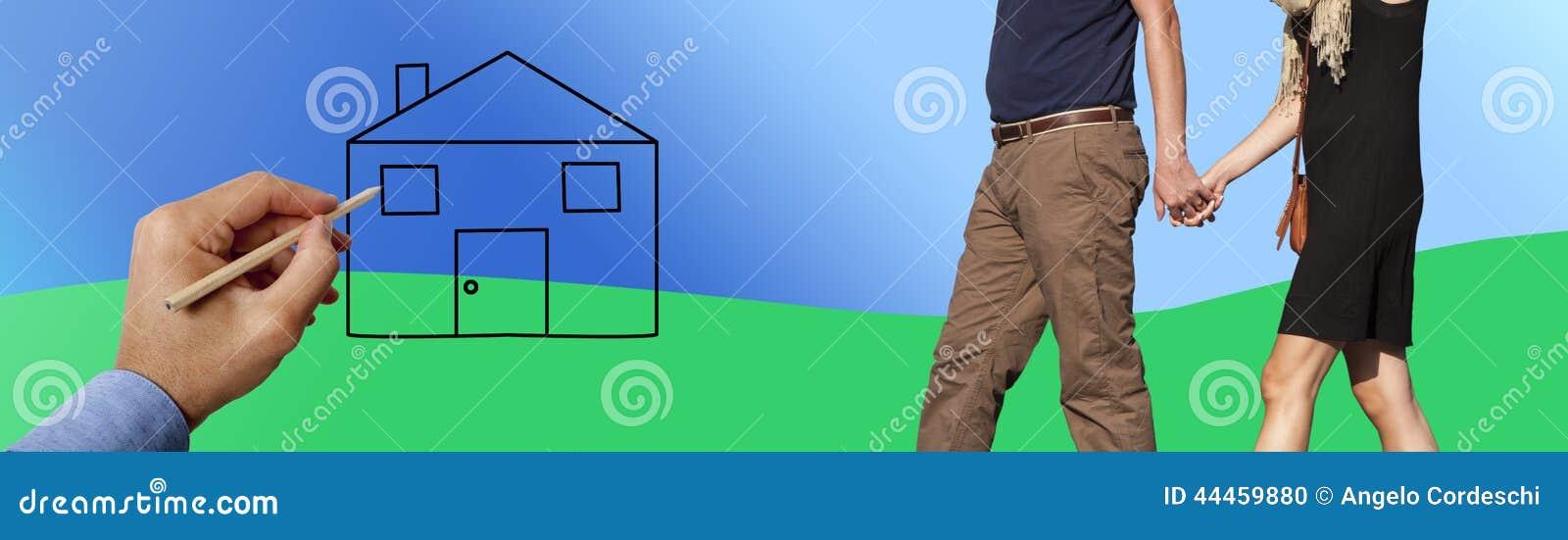 Χέρια εκμετάλλευσης ζεύγους και περπάτημα προς το νέο σπίτι